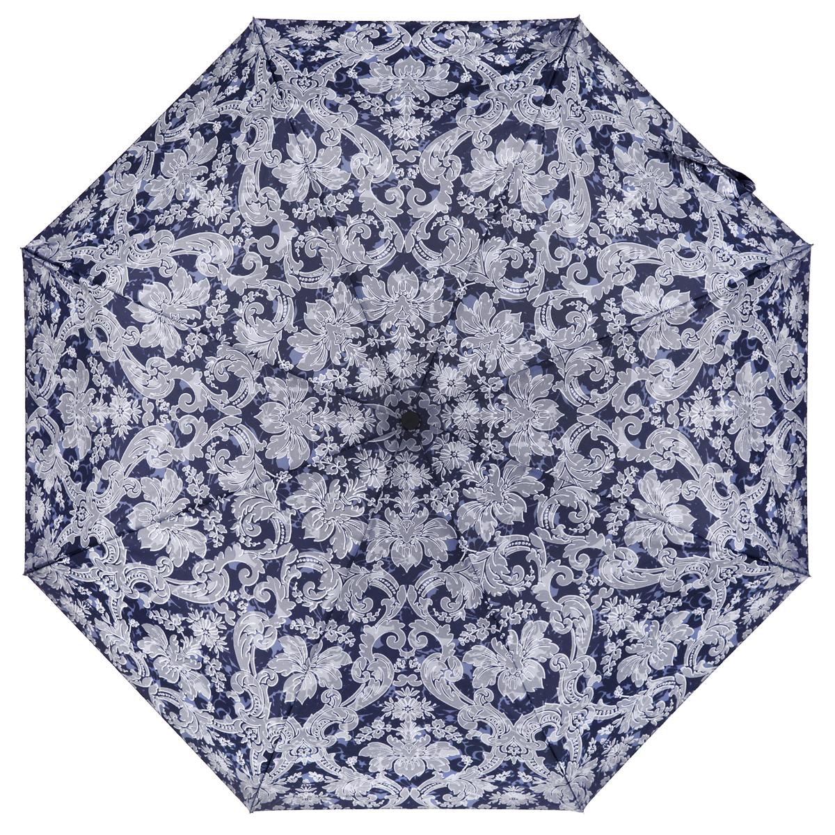 Зонт женский Zest, автомат, 4 сложения, цвет: темно-синий, светло-серый. 24756-128024756-1280Элегантный автоматический зонт Zest в 4 сложения изготовлен из высокопрочных материалов. Каркас зонта состоит из 8 спиц и прочного алюминиевого стержня. Специальная система Windproof защищает его от поломок во время сильных порывов ветра. Купол зонта выполнен из прочного полиэстера с водоотталкивающей пропиткой и оформлен орнаментом. Используемые высококачественные красители обеспечивают длительное сохранение свойств ткани купола. Рукоятка, разработанная с учетом требований эргономики, выполнена из пластика. Зонт имеет полный автоматический механизм сложения: купол открывается и закрывается нажатием кнопки на рукоятке, стержень складывается вручную до характерного щелчка. Благодаря этому открыть и закрыть зонт можно одной рукой, что чрезвычайно удобно при входе в транспорт или помещение. Небольшой шнурок, расположенный на рукоятке, позволяет надеть изделие на руку при необходимости. Модель закрывается при помощи хлястика на застежку-липучку. К зонту прилагается чехол. ...