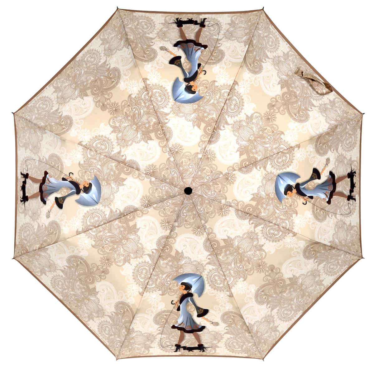 Зонт женский Zest, автомат, 3 сложения, цвет: бежевый, коричневый. 23926-270223926-2702Элегантный автоматический зонт Zest в 3 сложения изготовлен из высокопрочных материалов. Каркас зонта состоит из 8 спиц и прочного алюминиевого стержня. Специальная система Windproof защищает его от поломок во время сильных порывов ветра. Купол зонта выполнен из прочного полиэстера с водоотталкивающей пропиткой и оформлен изображением девушки с черным котом на поводке и орнаментом. Используемые высококачественные красители обеспечивают длительное сохранение свойств ткани купола. Рукоятка, разработанная с учетом требований эргономики, выполнена из пластика. Зонт имеет полный автоматический механизм сложения: купол открывается и закрывается нажатием кнопки на рукоятке, стержень складывается вручную до характерного щелчка. Благодаря этому открыть и закрыть зонт можно одной рукой, что чрезвычайно удобно при входе в транспорт или помещение. Небольшой шнурок, расположенный на рукоятке, позволяет надеть изделие на руку при необходимости. Модель закрывается при помощи хлястика...