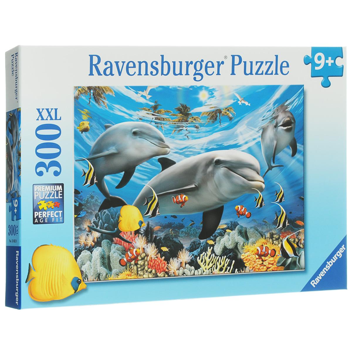 Ravensburger Карибская улыбка. Пазл XXL, 300 элементов13052Пазл Ravensburger Карибская улыбка понравится и вам, и вашему ребенку. Собрав этот пазл, включающий в себя 300 крупных элементов, вы получите замечательный постер с изображением жителей подводного мира. Пазл - великолепная игра для семейного досуга. Сегодня собирание пазлов стало особенно популярным, главным образом, благодаря своей многообразной тематике, способной удовлетворить самый взыскательный вкус. А для детей это не только интересно, но и полезно. Собирание пазла развивает мелкую моторику у ребенка, тренирует наблюдательность, логическое мышление, знакомит с окружающим миром, с цветом и разнообразными формами.