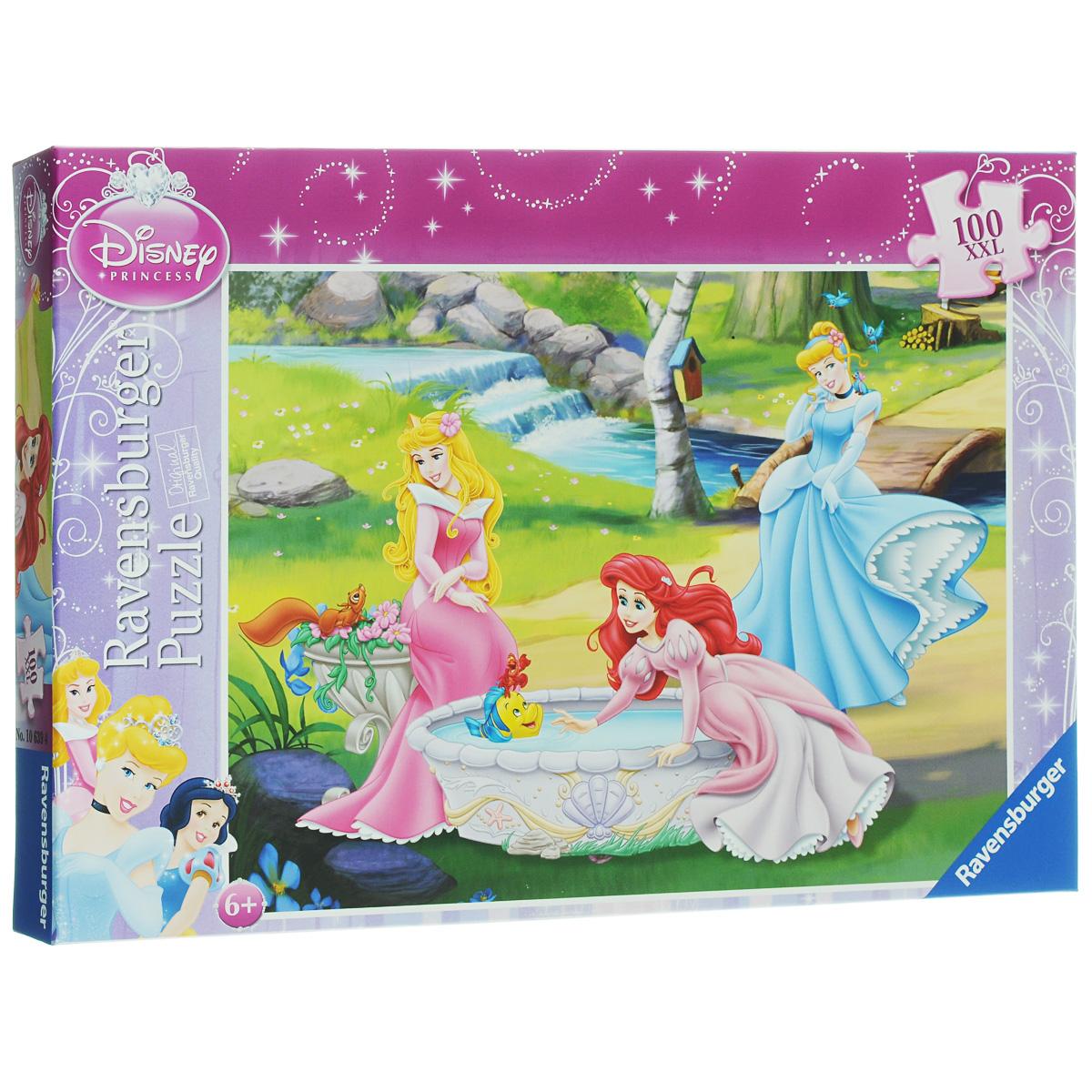 Ravensburger Принцессы в саду. Пазл XXL, 100 элементов10639Пазл Ravensburger Принцессы в саду обязательно понравится вашему ребенку. Собрав этот пазл, включающий в себя 100 крупных элементов, вы получите замечательную картинку с изображением принцесс из любимых диснеевских мультфильмов. Пазл изготовлен из картона высочайшего качества. Каждая деталь имеет свою форму и подходит только на свое место. Пазлы - замечательная развивающая игра для детей. Собирание пазла развивает у ребенка мелкую моторику рук, тренирует наблюдательность, логическое мышление, знакомит с окружающим миром, с цветом и разнообразными формами, учит усидчивости и терпению, аккуратности и вниманию.
