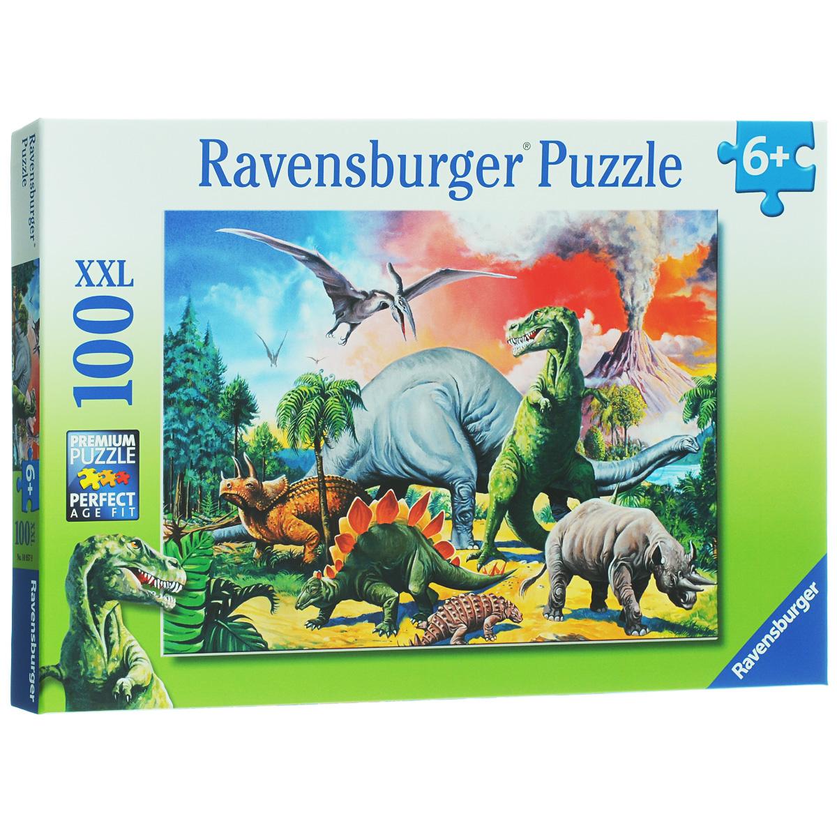 Ravensburger Среди динозавров. Пазл XXL, 100 элементов10957Пазл Ravensburger Среди динозавров обязательно понравится вашему ребенку. Собрав этот пазл, включающий в себя 100 крупных элементов, вы получите замечательную картинку с изображением разных видов динозавров. Пазл изготовлен из картона высочайшего качества. Каждая деталь имеет свою форму и подходит только на свое место. Пазлы - замечательная развивающая игра для детей. Собирание пазла развивает у ребенка мелкую моторику рук, тренирует наблюдательность, логическое мышление, знакомит с окружающим миром, с цветом и разнообразными формами, учит усидчивости и терпению, аккуратности и вниманию.