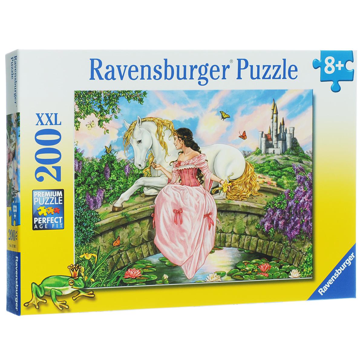 Ravensburger Принцесса на пруду. Пазл XXL, 200 элементов12709Пазл Ravensburger Принцесса на пруду понравится и вам, и вашему ребенку. Собрав этот пазл, включающий в себя 200 крупных элементов, вы получите замечательную картинку с изображением принцессы. Пазл - великолепная игра для семейного досуга. Сегодня собирание пазлов стало особенно популярным, главным образом, благодаря своей многообразной тематике, способной удовлетворить самый взыскательный вкус. А для детей это не только интересно, но и полезно. Собирание пазла развивает мелкую моторику у ребенка, тренирует наблюдательность, логическое мышление, знакомит с окружающим миром, с цветом и разнообразными формами.