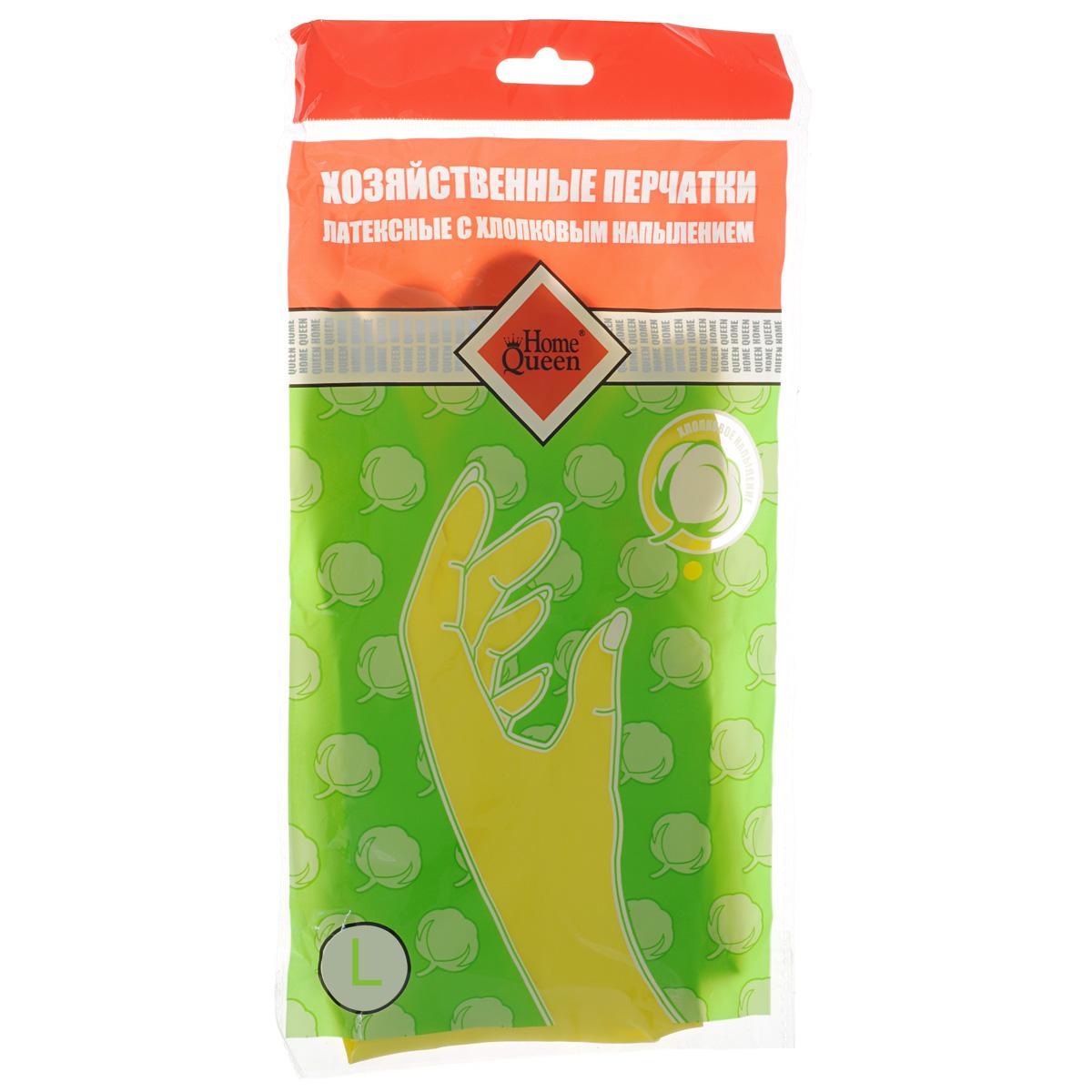 Перчатки латексные Home Queen, с хлопковым напылением. Размер L57106LПерчатки Home Queen защитят ваши руки от воздействия бытовой химии и грязи. Подойдут для всех видов хозяйственных работ. Выполнены из латекса с хлопковым напылением.