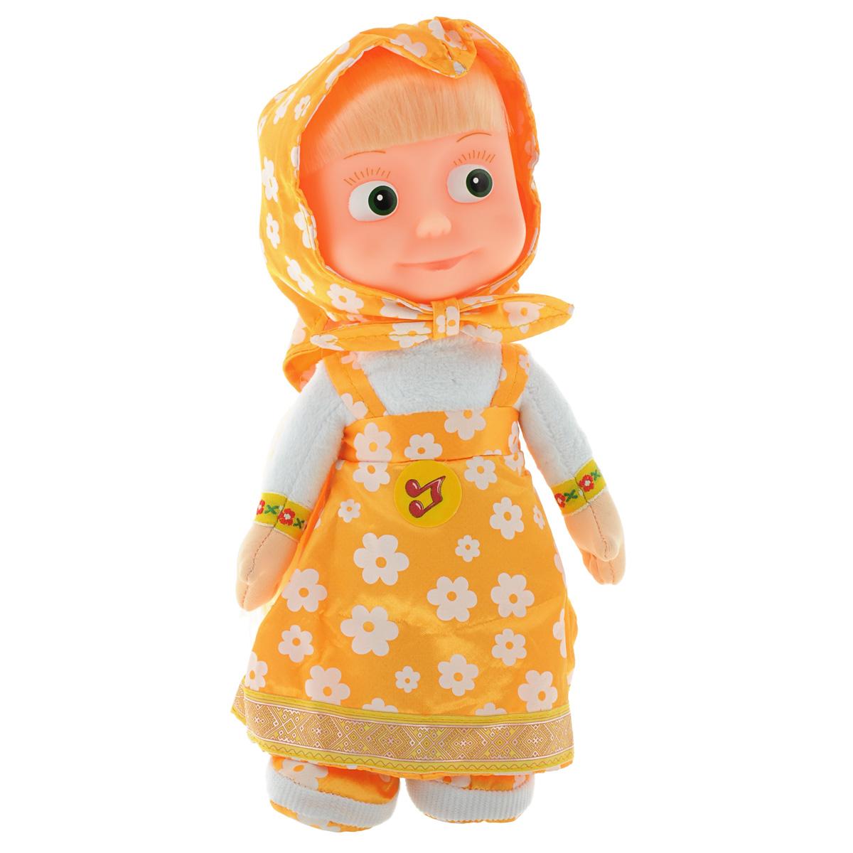 Мульти-Пульти Мягкая кукла МашаV86121/30A_желтыйМягкая озвученная игрушка Мульти-Пульти Маша вызовет улыбку у каждого, кто ее увидит! Она выполнена в виде Маши - главной героини популярного мультсериала Маша и Медведь. Туловище игрушки - мягконабивное, голова - пластиковая. Одета она в желтый сарафан с принтом в виде белых ромашек, на голове повязан платочек такого же дизайна. У Маши длинные светлые волосы, заплетенные в косу. Если нажать игрушке на животик, Маша произнесет одну из коронных фраз своей героини или споет песенку из мультфильма. Игрушка подарит своему обладателю хорошее настроение и позволит насладиться обществом любимого героя. Игрушка работает от 3 батареек типа таблетка (входят в комплект).