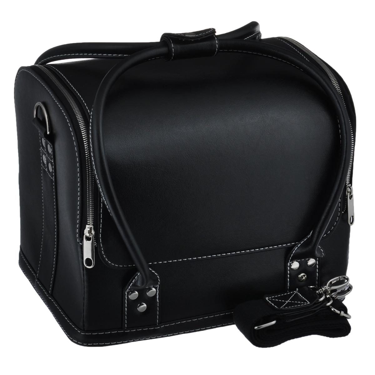 Сумка для швейных принадлежностей Prym, цвет: черный, 31 х 23 х 25 см612822Сумка Prym выполнена из искусственной кожи. Сумка Prym предназначена для хранения швейных принадлежностей. Сумка имеет большое отделение, в котором имеются выдвижные отделения для швейных принадлежностей. Закрывается сумка на молнию. Также сумка имеет ручки для удобной носки в руках и ручку через плечо. Сумка не оставит равнодушной ни одну любительницу изысканных вещей. Сочетание оригинального дизайна и функциональности сделают такую сумку практичным и стильным предметом гордости ее обладательницы.