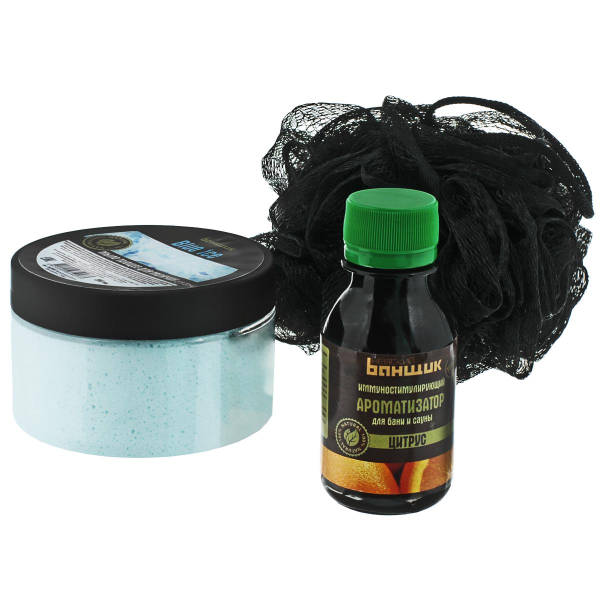 Набор подарочный С праздником!, 3 предметаБ33056Набор подарочный С праздником! состоит из мочалки, ароматизатора для бани и сауны и мыла. Мочалка выполнена из полиэстера. Тающее мыло Blue Ice предназначено для мужчин. Мыло ручной работы нежно и деликатно очищает распаренную кожу. Леденящий аромат освежает и дарит заряд бодрости. Ароматизатор для бани и сауны Цитрус содержит эфирные масла цитрусовых. Цитрусовые фрукты обладают уникальными антимикробными и противовоспалительными свойствами. Набор подарочный С праздником! станет отличным подарком любимому мужчине, коллеге или другу. Состав ароматизатора: вода, децет-7, PEG-40 гидрогенизированное касторовое масло, PPG-26, бутет-26, отдушка цитрус. Состав мыла: вода, глицерин, сорбитол, пропиленгликоль, стеариновая кислота, лауриновая кислота, стеарат натрия, натриевая соль, хлорид натрия, ЭДТА, отдушка, краситель.