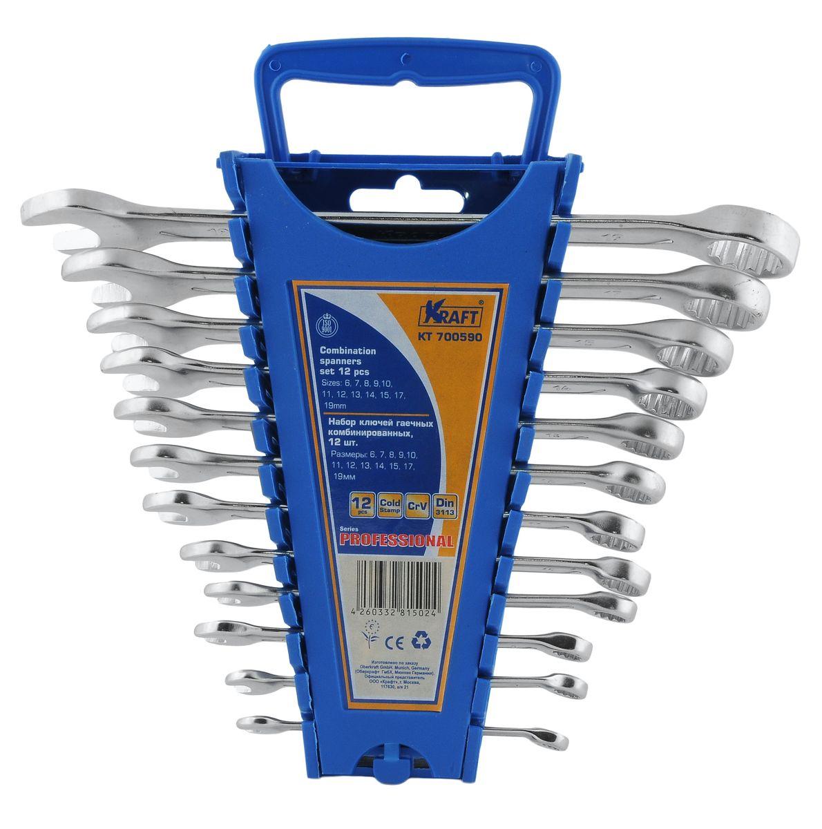 Набор комбинированных гаечных ключей Kraft Professional, 6 мм - 19 мм, 12 штКТ700590Набор комбинированных гаечных ключей Kraft Professional предназначен для профессионального применения в решении сантехнических, строительных и авторемонтных задач, а также для бытового использования. Ключи изготовлены из хромованадиевой стали. Размеры ключей входящих в набор: 6 мм, 7 мм, 8 мм, 9 мм, 10 мм, 11 мм, 12 мм, 13 мм, 14 мм, 15 мм, 17 мм, 19 мм. Комбинированный ключ представляет собой соединение рожкового и накидного гаечных ключей. Обе стороны комбинированного ключа имеют одинаковый размер. Комбинированный ключ - это необходимый предмет в каждом доме.