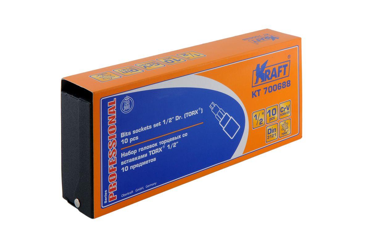 Набор торцевых головок Kraft Professional со вставками Torx, 1/2, 10 штКТ700688В набор Kraft Professional входят торцевые головки со вставками Torx, посадочный размер 1/2. Размеры торцевых головок: Т20, Т25, Т27, Т30, Т40, Т45, Т50, Т55, Т60, Т70. Головки выполнены из хром-ванадиевой стали. Торцевые головки Kraft Professional изготовлены из хромованадиевой стали марки 50BV30 со специальным трехслойным покрытием, обеспечивающим долговременную защиту от механических повреждений.