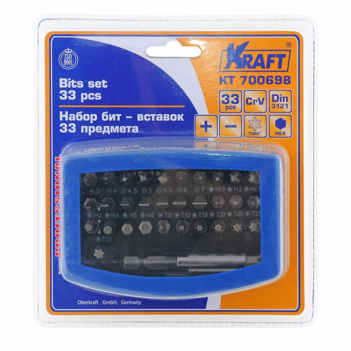 """Набор бит-вставок Kraft Professional, 33 предметаКТ700698В набор Kraft Professional входят бит-вставки: Torx: T8, T10, T15, T20, T25, T27, T30, T40; Hex: 1,5, H2, H2,5, H3, H4, H5, H6; шлицевые: Sl3, Sl4, Sl4,5, Sl5, Sl5,5, Sl6, Sl7; крестовые: Ph0, Ph1, Ph2, Ph3, Ph4, Pz0, Pz1, Pz2, Pz3, Pz4; держатель бит 5/16"""". Элементы набора Kraft Professional изготовлены из хромованадиевой стали марки 50BV30 со специальным трехслойным покрытием, обеспечивающим долговременную защиту от механических повреждений."""