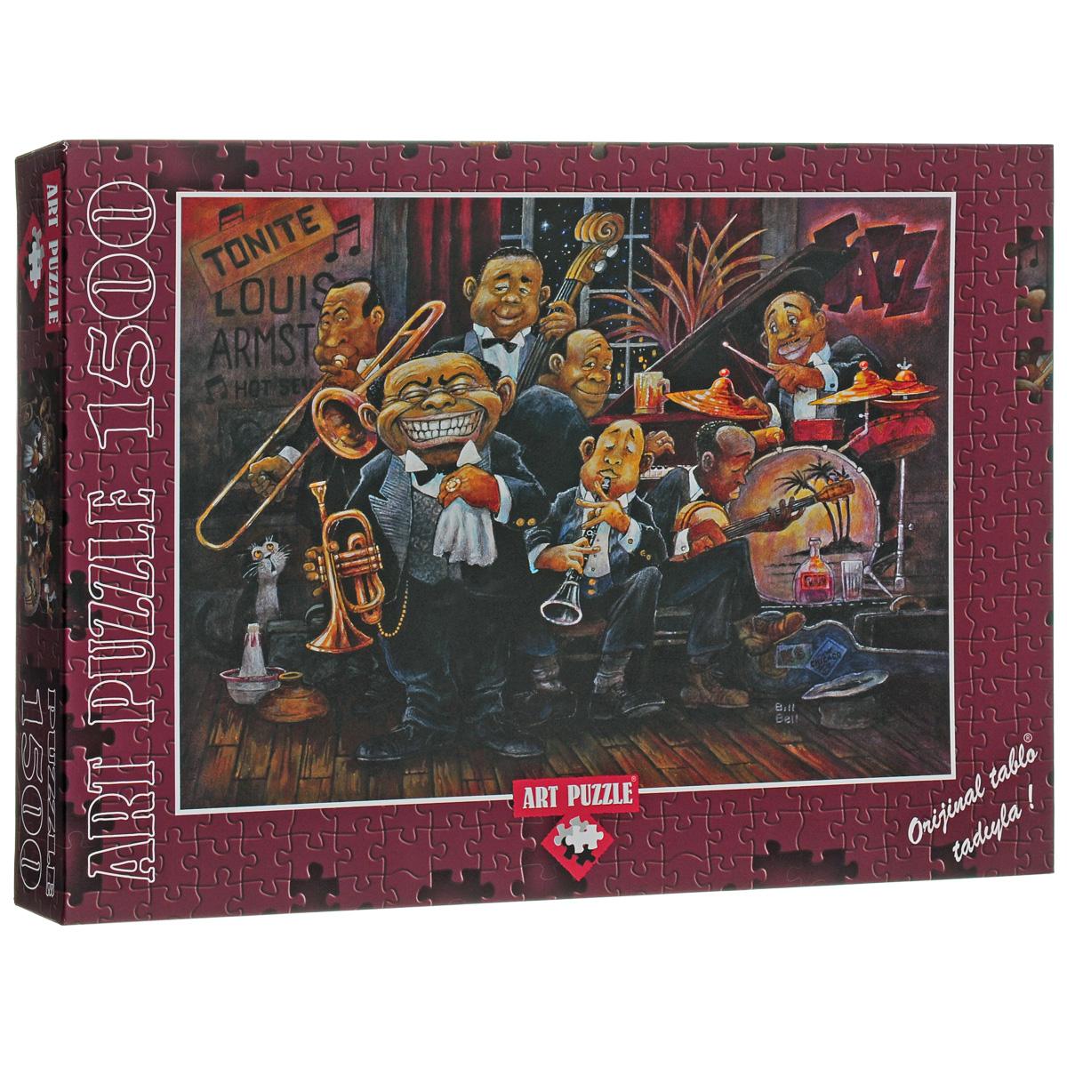 Б.Белл, Луи Армстронг с оркестром. 1500 элементов4607Пазл Б.Белл, Луи Армстронг с оркестром непременно придется вам по душе. Собрав этот пазл, включающий в себя 1500 элементов, вы получите великолепную картину художника Билла Белла с забавным карикатурным изображением знаменитого музыканта Луи Армстронга и джазового оркестра. Такая картина станет достойным украшением любого интерьера. Каждая деталь имеет свою форму и подходит только на своё место. Нет двух одинаковых деталей! Пазл изготовлен из картона высочайшего качества. Пазл - великолепная игра для семейного досуга. Сегодня собирание пазлов стало особенно популярным, главным образом, благодаря своей многообразной тематике, способной удовлетворить самый взыскательный вкус. А для детей это не только интересно, но и полезно. Собирание пазла развивает мелкую моторику у ребенка, тренирует наблюдательность, логическое мышление, знакомит с окружающим миром, с цветом и разнообразными формами.