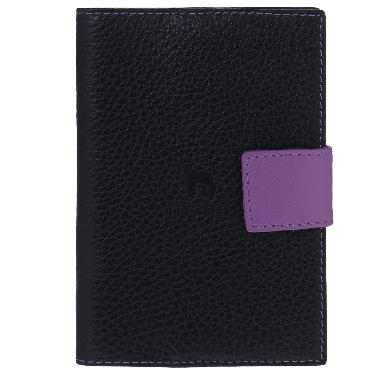 Обложка для паспорта Dimanche Mumi, цвет: черный, фиолетовый. 050050Изысканная обложка для паспорта Dimanche Mumi изготовлена из высококачественной натуральной кожи и декорирована фактурным тиснением. Изделие закрывается хлястиком на кнопку. Внутри обложка отделана полиэстером и содержит три боковых кармана, которые надежно зафиксируют ваш документ. Изделие упаковано в пластиковый чехол. Модная обложка для паспорта не только поможет сохранить внешний вид вашего документа и защитить его от повреждений, но и станет стильным аксессуаром, который прекрасно дополнит ваш образ.