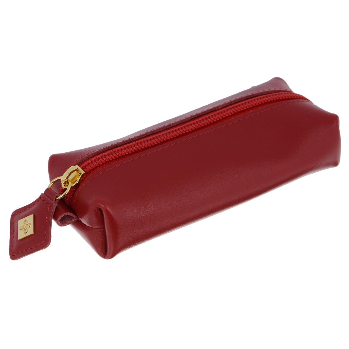 Ключница Dimanche Elite, цвет: красный. 841841Стильная ключница Dimanche Elite Purpur изготовлена из натуральной кожи. Модель оформлена небольшой металлической пластиной с логотипом бренда. Ключница закрывается на застежку-молнию. Внутреннее отделение дополнено хлястиком с металлическим кольцом для крепления ключей. Модная ключница прекрасно дополнит ваш образ и станет незаменимым аксессуаром на каждый день.