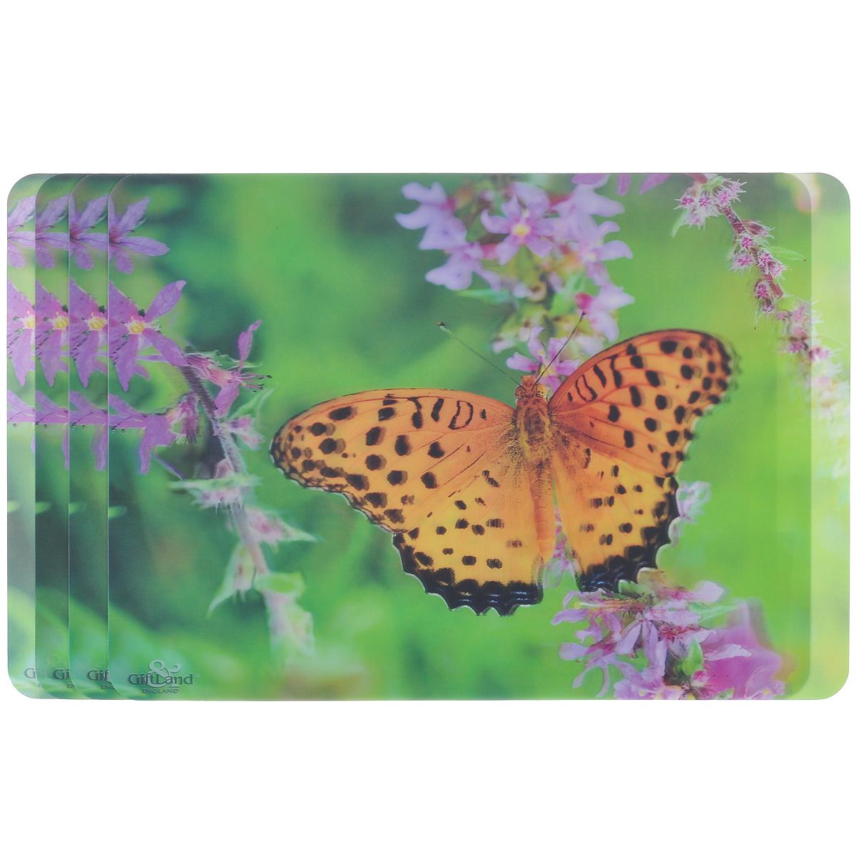 Набор сервировочных салфеток 3D GiftLand Рыжая бабочка, 34,5 см х 24,5 см, 4 шт3D-16 B OrangeНабор GiftLand Рыжая бабочка, изготовленный из полипропилена, состоит из четырех сервировочных салфеток с эффектом 3D. Такие салфетки - это отличная идея для сервировки! Салфетки декорированы ярким объемным изображением бабочки и цветов. Изделия защищают поверхность стола от воздействия температур, влаги и загрязнений, а также украшают интерьер. Могут использоваться для детского творчества (рисования, лепки из пластилина) в качестве защитного покрытия, подставки под вазы, кухонные приборы. Размер салфетки: 34,5 см х 24,5 см.