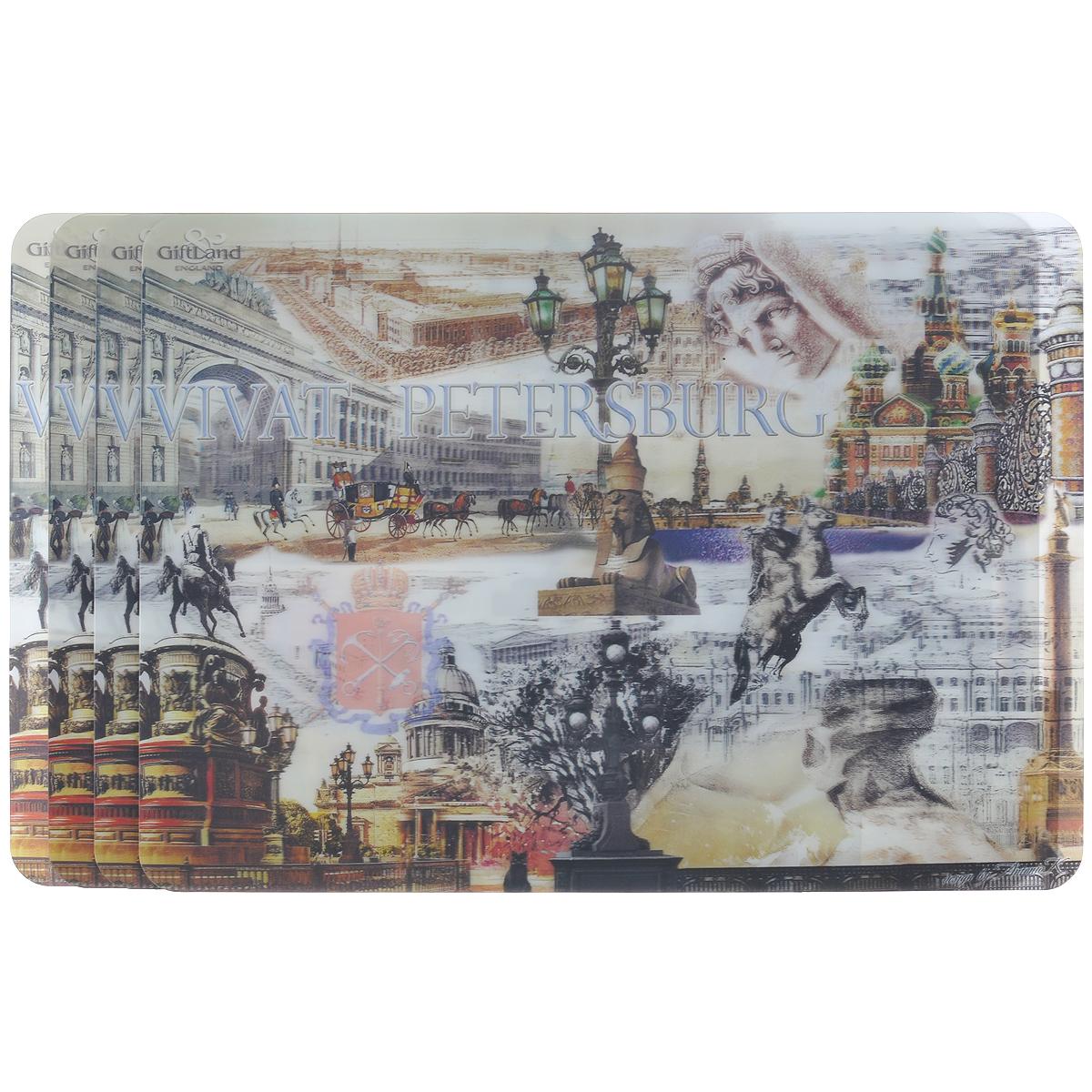 Набор сервировочных салфеток 3D GiftLand Виват Петербург, 34,5 х 24,5 см, 4 шт3D-21 СПбНабор GiftLand Виват Петербург, изготовленный из полипропилена, состоит из четырех сервировочных салфеток с эффектом 3D. Такие салфетки - это отличная идея для сервировки! Салфетки декорированы ярким объемным изображением достопримечательностей Санкт-Петербурга. Изделия защищают поверхность стола от воздействия температур, влаги и загрязнений, а также украшают интерьер. Могут использоваться для детского творчества (рисования, лепки из пластилина) в качестве защитного покрытия, подставки под вазы, кухонные приборы. Размер салфетки: 34,5 см х 24,5 см.