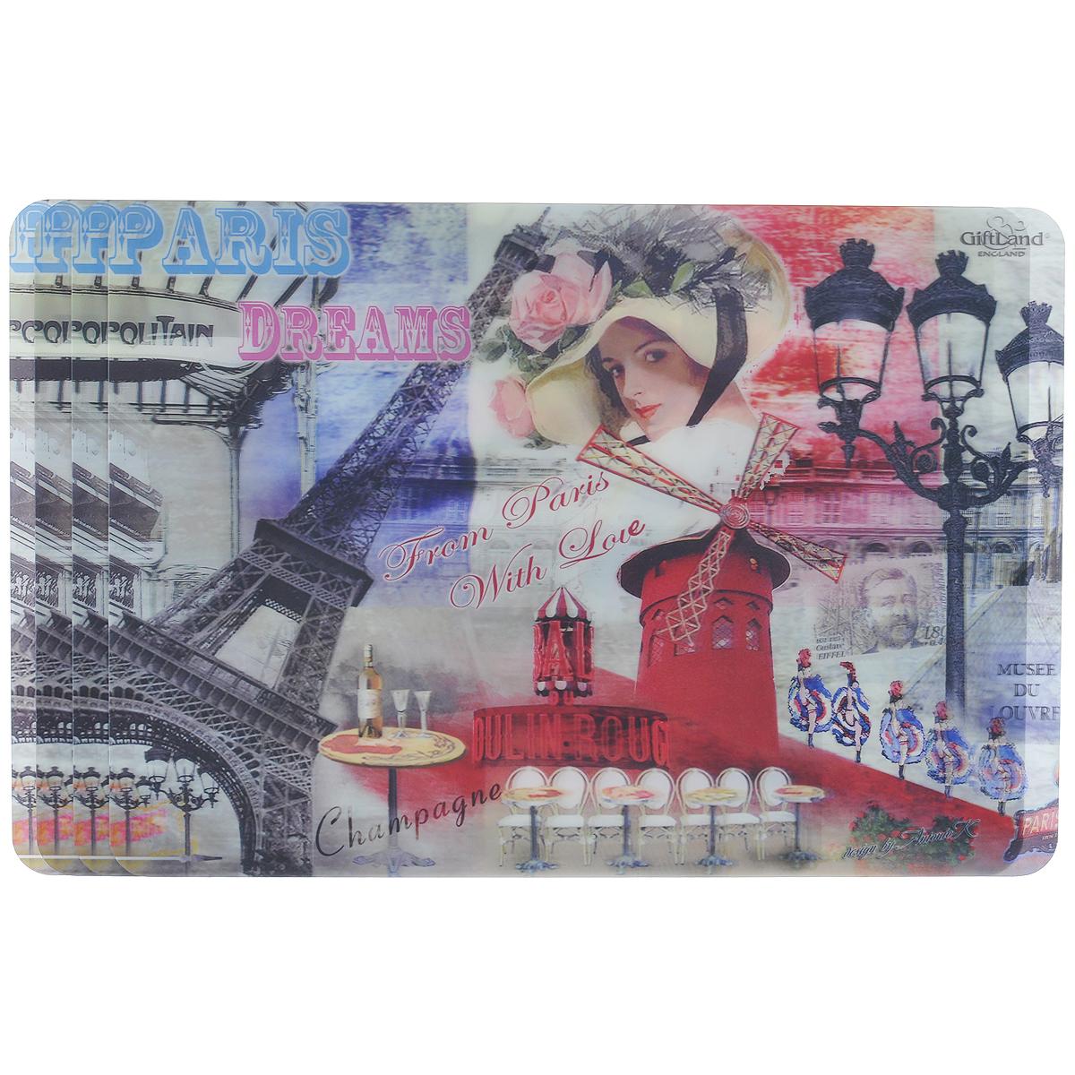 Набор сервировочных салфеток 3D GiftLand Парижские фантазии, 34,5 см х 24,5 см, 4 шт3D-07 ParisНабор GiftLand Парижские фантазии, изготовленный из полипропилена, состоит из четырех сервировочных салфеток с эффектом 3D. Такие салфетки - это отличная идея для сервировки! Салфетки декорированы ярким объемным изображением Эйфелевой башни, девушки в шляпе, мельницы и фонарей. Изделия защищают поверхность стола от воздействия температур, влаги и загрязнений, а также украшают интерьер. Могут использоваться для детского творчества (рисования, лепки из пластилина) в качестве защитного покрытия, подставки под вазы, кухонные приборы. Размер салфетки: 34,5 см х 24,5 см.