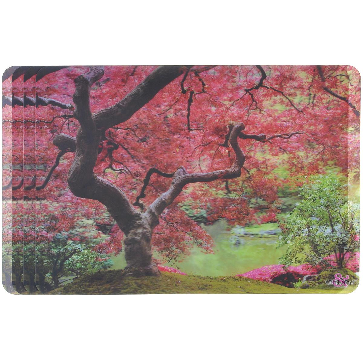 Набор сервировочных салфеток 3D GiftLand Дерево у озера, 34,5 х 24,5 см, 4 шт3D-05 TreeНабор GiftLand Дерево у озера, изготовленный из полипропилена, состоит из четырех сервировочных салфеток с эффектом 3D. Такие салфетки - это отличная идея для сервировки! Салфетки декорированы ярким объемным изображением цветущего дерева у озера. Изделия защищают поверхность стола от воздействия температур, влаги и загрязнений, а также украшают интерьер. Могут использоваться для детского творчества (рисования, лепки из пластилина) в качестве защитного покрытия, подставки под вазы, кухонные приборы. Размер салфетки: 34,5 см х 24,5 см.