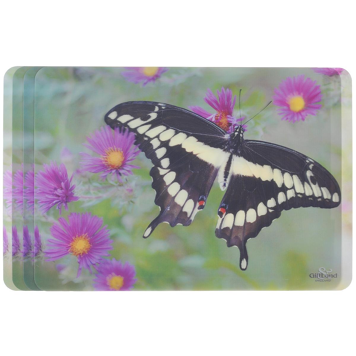 Набор сервировочных салфеток 3D GiftLand Черная бабочка, 34,5 см х 24,5 см, 4 шт3D-12 В BlackНабор GiftLand Черная бабочка, изготовленный из полипропилена, состоит из четырех сервировочных салфеток с эффектом 3D. Такие салфетки - это отличная идея для сервировки! Салфетки декорированы ярким объемным изображением бабочки и цветов. Изделия защищают поверхность стола от воздействия температур, влаги и загрязнений, а также украшают интерьер. Могут использоваться для детского творчества (рисования, лепки из пластилина) в качестве защитного покрытия, подставки под вазы, кухонные приборы. Размер салфетки: 34,5 см х 24,5 см.