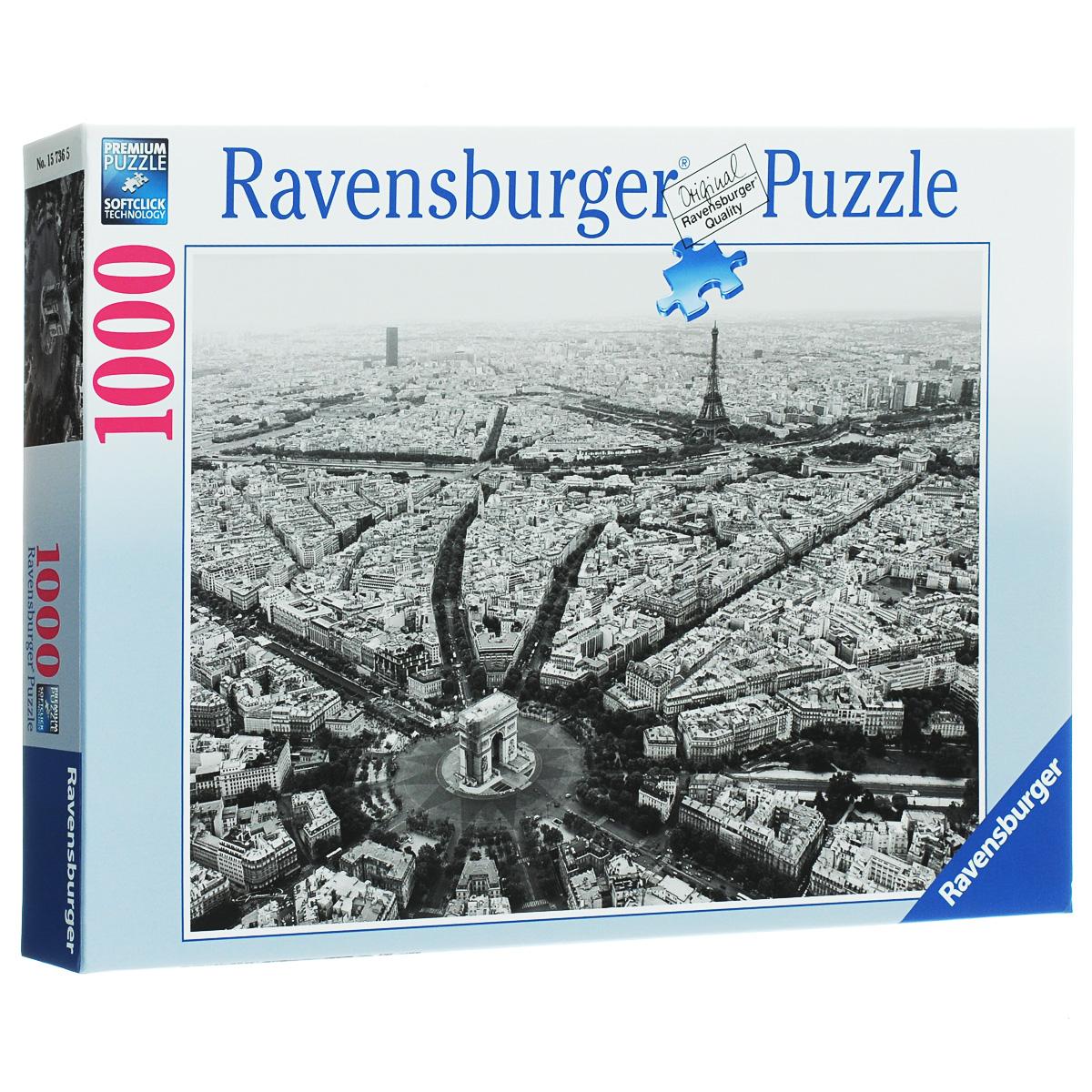 Ravensburger Черно-белый Париж. Пазл, 1000 элементов15736Пазл Ravensburger Черно-белый Париж, без сомнения, придется по душе вам и вашему ребенку. Собрав этот пазл, включающий в себя 1000 элементов, вы получите потрясающую картину, на которой изображена черно-белая фотография столицы Франции. Весь Париж как на ладони! Вы увидите мельчайшие детали этого крупного города, улочки, дома, знаменитые строения. Каждая деталь имеет свою форму и подходит только на своё место. Нет двух одинаковых деталей! Пазл изготовлен из картона высочайшего качества. Все изображения аккуратно отсканированы и напечатаны на ламинированной бумаге. Пазлы - замечательная развивающая игра для детей. Собирание пазла развивает у ребенка мелкую моторику рук, тренирует наблюдательность, логическое мышление, знакомит с окружающим миром, с цветом и разнообразными формами, учит усидчивости и терпению, аккуратности и вниманию.