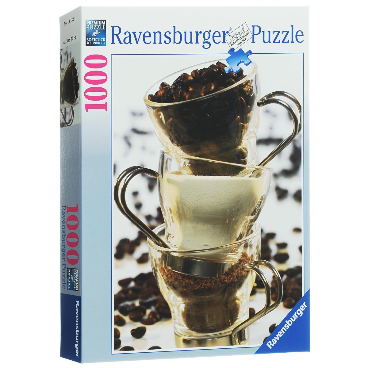 Ravensburger Кофе. Пазл, 1000 элементов19132Пазл Ravensburger Кофе, без сомнения, придется по душе вам и вашему ребенку. Собрав этот пазл, включающий в себя 1000 элементов, вы получите потрясающую картину с изображением трех чашек с кофе. В нижней чашке молотый кофе, во второй чашке сухие сливки, в самой верхней чашке - зерновой кофе. Все они стоят друг на друге, создавая необычную композицию. Каждая деталь имеет свою форму и подходит только на своё место. Нет двух одинаковых деталей! Пазл изготовлен из картона высочайшего качества. Все изображения аккуратно отсканированы и напечатаны на ламинированной бумаге. Пазлы - замечательная развивающая игра для детей. Собирание пазла развивает у ребенка мелкую моторику рук, тренирует наблюдательность, логическое мышление, знакомит с окружающим миром, с цветом и разнообразными формами, учит усидчивости и терпению, аккуратности и вниманию.