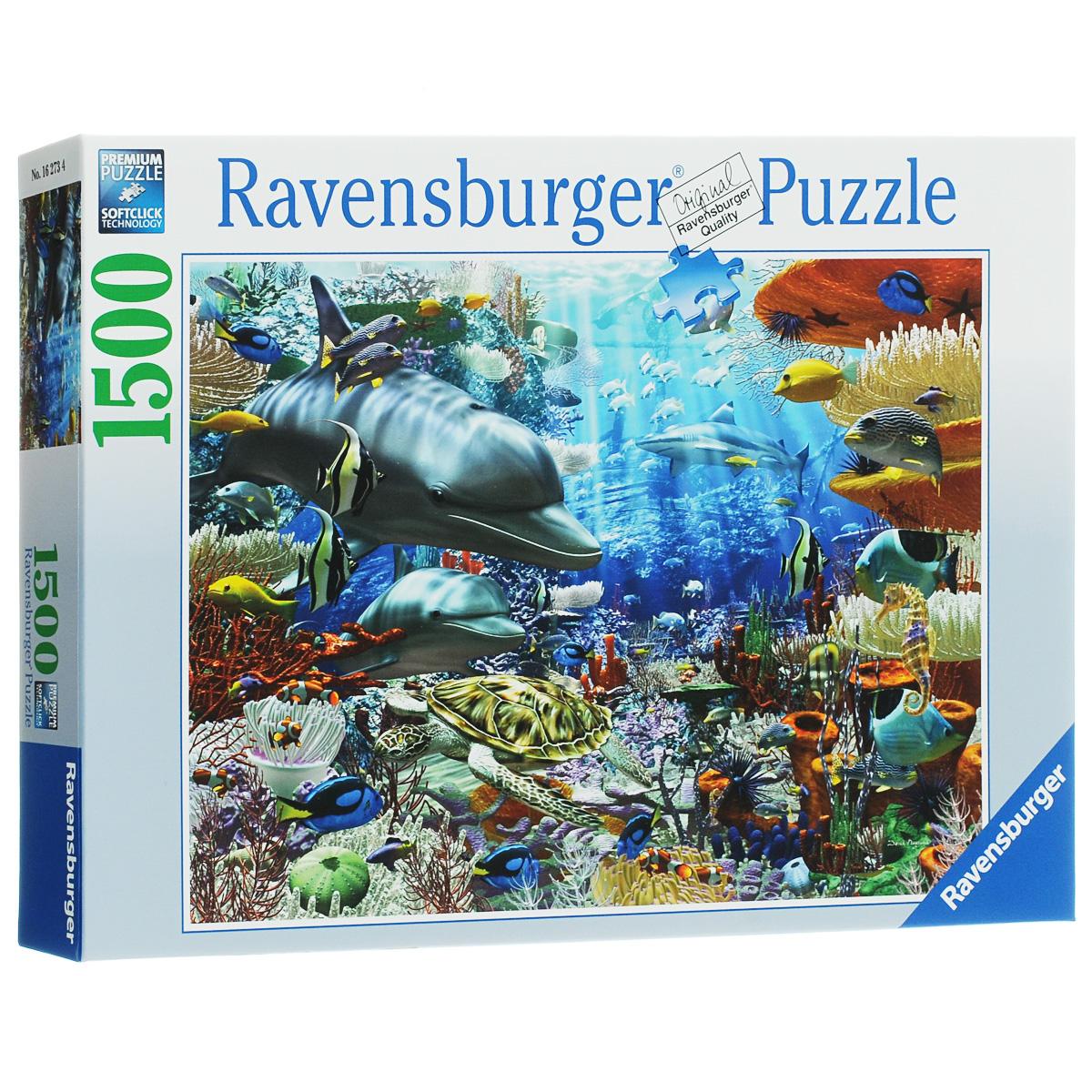 Ravensburger Подводный мир. Пазл, 1500 элементов16273Пазл Ravensburger Подводный мир, без сомнения, придется по душе вам и вашему ребенку. Собрав этот пазл, включающий в себя 1500 элементов, вы получите потрясающую картину с изображением обитателей подводного мира. Среди них дельфины, акулы, всевозможные рыбы и черепахи, а также кораллы и водоросли. Каждая деталь имеет свою форму и подходит только на своё место. Нет двух одинаковых деталей! Пазл изготовлен из картона высочайшего качества. Все изображения аккуратно отсканированы и напечатаны на ламинированной бумаге. Пазлы - прекрасное антистрессовое средство для взрослых и замечательная развивающая игра для детей. Собирание пазла развивает у ребенка мелкую моторику рук, тренирует наблюдательность, логическое мышление, знакомит с окружающим миром, с цветом и разнообразными формами, учит усидчивости и терпению, аккуратности и вниманию. Собирание пазла - прекрасное времяпрепровождение для всей семьи.