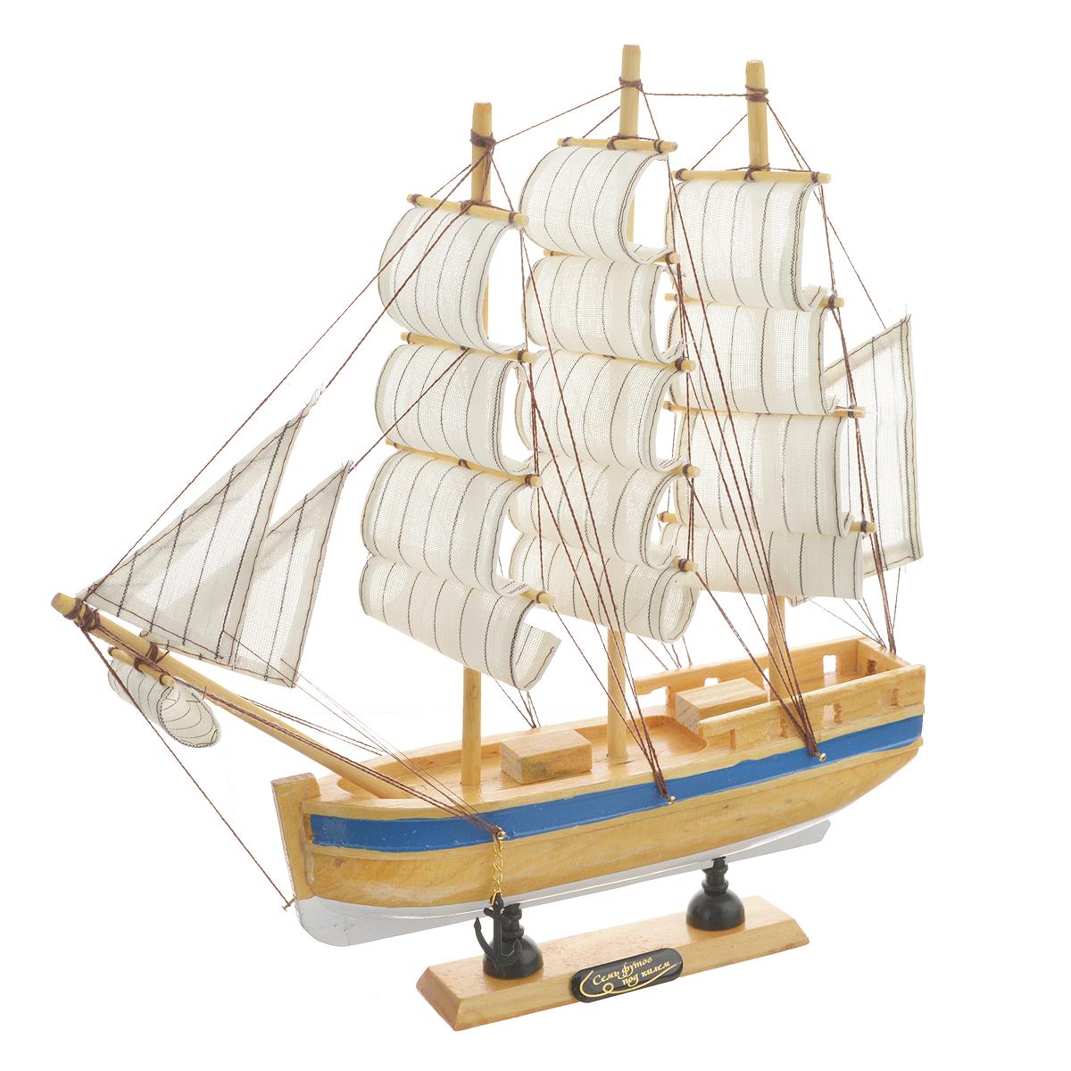 Корабль сувенирный Семь футов под килем, длина 30 см. 564181564181Сувенирный корабль Семь футов под килем, изготовленный из дерева и текстиля, это великолепный элемент декора рабочей зоны в офисе или кабинете. Корабль с парусами и якорями помещен на деревянную подставку. Время идет, и мы становимся свидетелями развития технического прогресса, новых учений и практик. Но одно не подвластно времени - это любовь человека к морю и кораблям. Сувенирный корабль наполнен историей и силой океанских вод. Данная модель кораблика станет отличным подарком для всех любителей морей, поклонников историй о покорении океанов и неизведанных земель. Модель корабля - подарок со смыслом. Издавна на Руси считалось, что корабли приносят удачу и везение. Поэтому их изображения, фигурки и точные копии всегда присутствовали в помещениях. Удивите себя и своих близких необычным презентом.