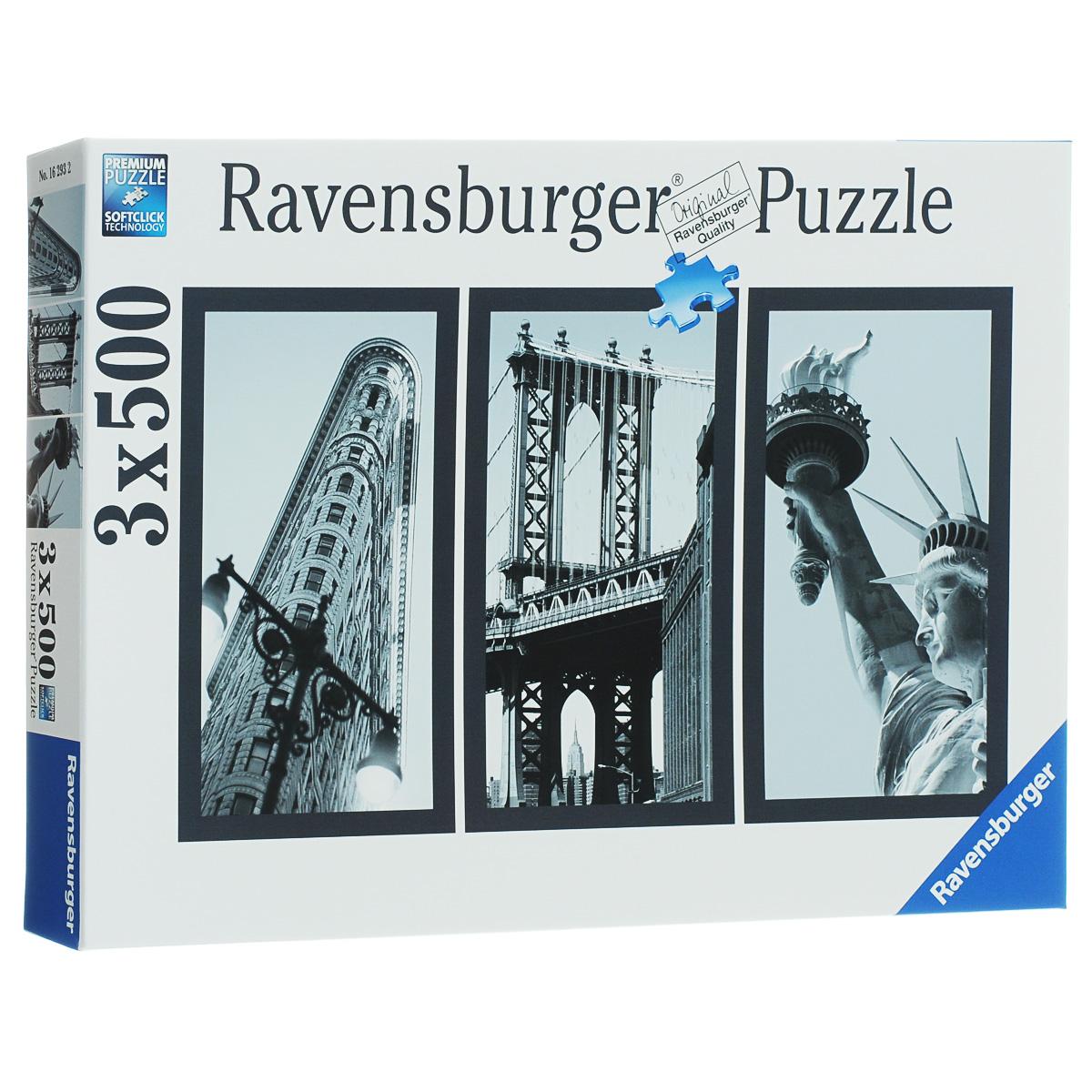 Ravensburger Воспоминания о Нью-Йорке. Пазл, 3 х 500 элементов16293Пазл Ravensburger Воспоминания о Нью-Йорке, без сомнения, придется по душе вам и вашему ребенку. В набор входят три замечательных пазла по 500 деталей с изображением различных символов, олицетворяющих Нью-Йорк. На первой картинке вы увидите знаменитое здание издательства, на второй - Бруклинский мост, а на третьей Статую Свободы. Каждая деталь имеет свою форму и подходит только на своё место. Нет двух одинаковых деталей! Пазл изготовлен из картона высочайшего качества. Все изображения аккуратно отсканированы и напечатаны на ламинированной бумаге. Пазлы - прекрасное антистрессовое средство для взрослых и замечательная развивающая игра для детей. Собирание пазла развивает у ребенка мелкую моторику рук, тренирует наблюдательность, логическое мышление, знакомит с окружающим миром, с цветом и разнообразными формами, учит усидчивости и терпению, аккуратности и вниманию. Собирание пазла - прекрасное времяпрепровождение для всей семьи.