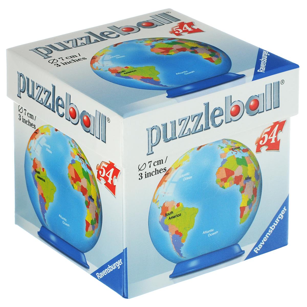 Ravensburger Глобус. Объемный 3D-пазл, 54 элемента94111Объемный 3D-пазл Ravensburger Глобус - прекрасный способ провести время увлекательно и с пользой. В набор входят 54 элемента, с помощью которых ваш ребенок сможет собрать шар в виде глобуса с картой стран. Для облегчения сборки каждый элемент с внутренней стороны пронумерован. Элементы пазла плотно фиксируются одна с другой без клея, крепятся друг к другу поочередно, образуя прочную конструкцию. В комплекте подставка под собранный пазл и схематичная инструкция. Пазл - великолепная игра для семейного досуга, захватывающая и взрослых и детей. Сегодня собирание пазлов стало особенно популярным, главным образом, благодаря своей многообразной тематике, способной удовлетворить самый взыскательный вкус.