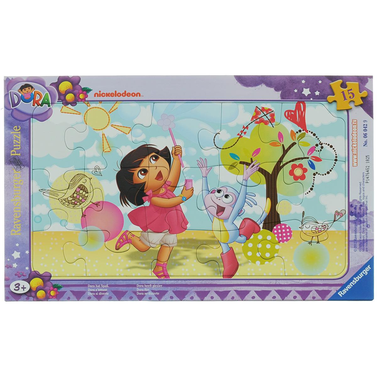 Ravensburger Веселая Дора. Пазл, 15 элементов06042Пазл Ravensburger Веселая Дора, несомненно, понравится вашему ребенку. Собрав этот пазл, включающий в себя 15 крупных элементов, вы получите замечательную картинку с изображением малышки Доры. Пазл собирается на специальной картонной подложке. Пазлы - замечательная развивающая игра для детей. Собирание пазла развивает у ребенка мелкую моторику рук, тренирует наблюдательность, логическое мышление, знакомит с окружающим миром, с цветом и разнообразными формами, учит усидчивости и терпению, аккуратности и вниманию.