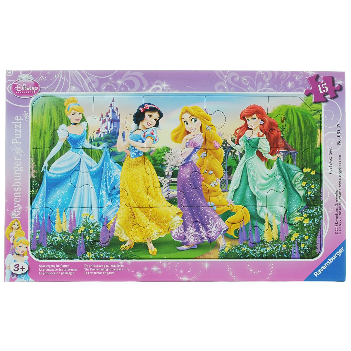 Ravensburger Принцессы на прогулке. Пазл, 15 элементов06047Пазл Ravensburger Принцессы на прогулке, несомненно, понравится вашему ребенку. Собрав этот пазл, включающий в себя 15 крупных элементов, вы получите замечательную картинку с изображением принцесс из диснеевских мультфильмов. Пазл собирается на специальной картонной подложке. Пазлы - замечательная развивающая игра для детей. Собирание пазла развивает у ребенка мелкую моторику рук, тренирует наблюдательность, логическое мышление, знакомит с окружающим миром, с цветом и разнообразными формами, учит усидчивости и терпению, аккуратности и вниманию.
