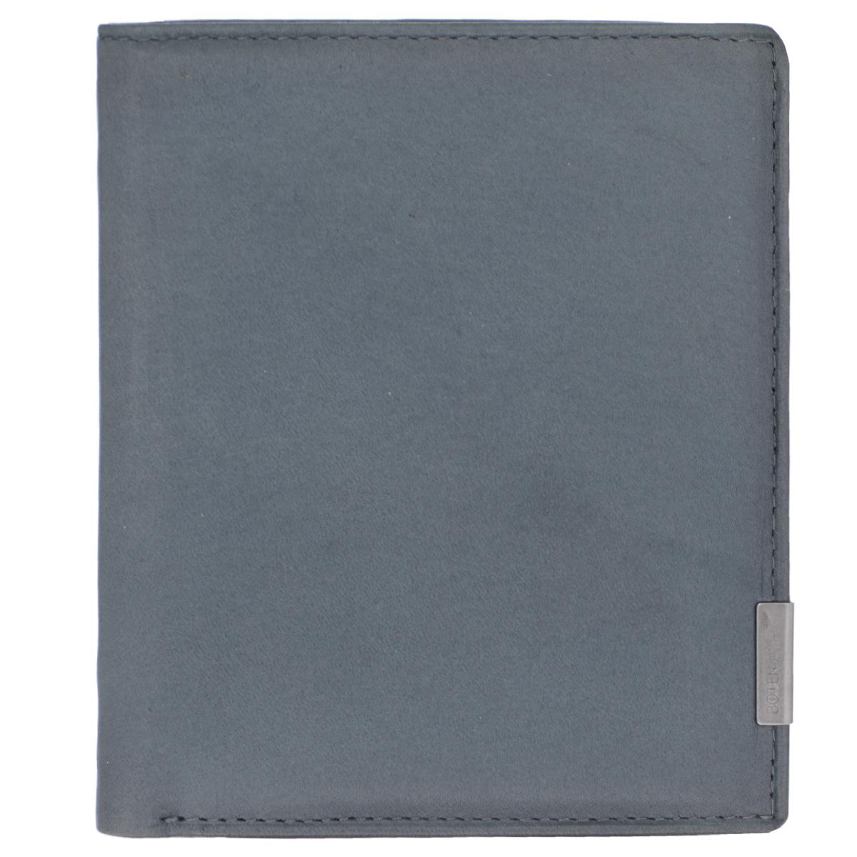 Бумажник мужской Bodenschatz, цвет: серый. 8-660/168-660/16Модный мужской бумажник Bodenschatz изготовлен из натуральной кожи и оформлен небольшой металлической пластиной с гравировкой в виде названия бренда на лицевой стороне. Внутри - два отделения для купюр, отсек для мелочи на замке-кнопке, боковой карман, два сетчатых кармана, четыре прорези для визиток и кредитных карт (одна оформлена с внешней стороны сеткой). Изделие упаковано в фирменную коробку. Изысканный бумажник не оставит равнодушным истинного ценителя прекрасного.