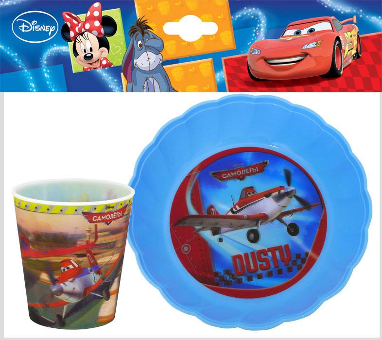 Набор детской посуды Disney Самолеты 2, цвет: голубой, 2 предметаN2PL2Набор Disney Самолеты 2, выполненный из пищевого пластика, состоит из стакана и фигурной тарелки. Предметы набора оформлены стерео изображением героев мультфильма Самолеты 2. Небьющаяся посуда, красивая, легкая и удобная в уходе. Ваш малыш с удовольствием будет кушать вместе с любимыми героями. Объем стакана: 260 мл. Диаметр по верхнему краю: 8 см. Высота стакана: 8,5 см. Диаметр тарелки: 18 см. Высота стенок: 4 см.