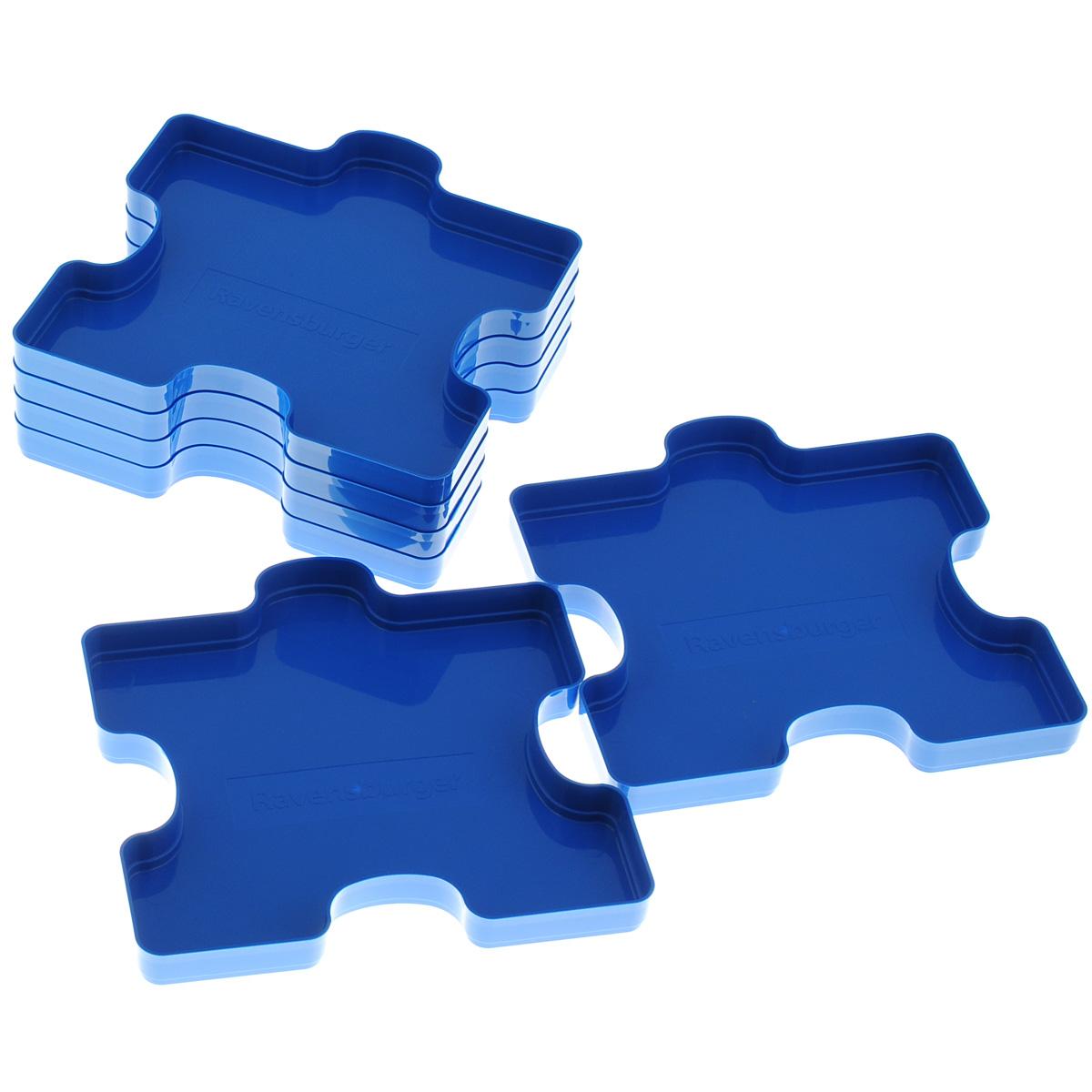Ravensburger Сортировщик пазлов, 6 шт17934Сортировщик пазлов Ravensburger предназначен для сортировки и хранения элементов пазла. Комплект включает 6 лотков в форме элементов пазла, выполненных из прочного пластика и вмещающих от 300 до 1000 элементов.