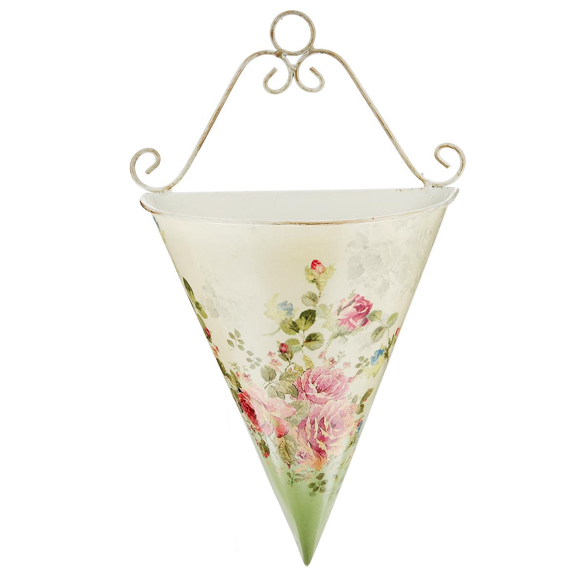 Кашпо-конус GiftnHome Розовый куст, высота 35 смКонус-SКашпо-конус GiftnHome Розовый куст - прекрасное решение для декора дома или дачи. Изготовлено из жести и оформлено красочным цветочным рисунком в винтажном стиле. Декор выполнен в технике декупаж. Кашпо подвешивается к стене. Изделие предназначено для интерьерного оформления жилого помещения. Оно прекрасно дополнит интерьер и добавит в обычную обстановку нотки романтики и изящества. Кашпо не герметично - не рекомендуется наполнять водой.
