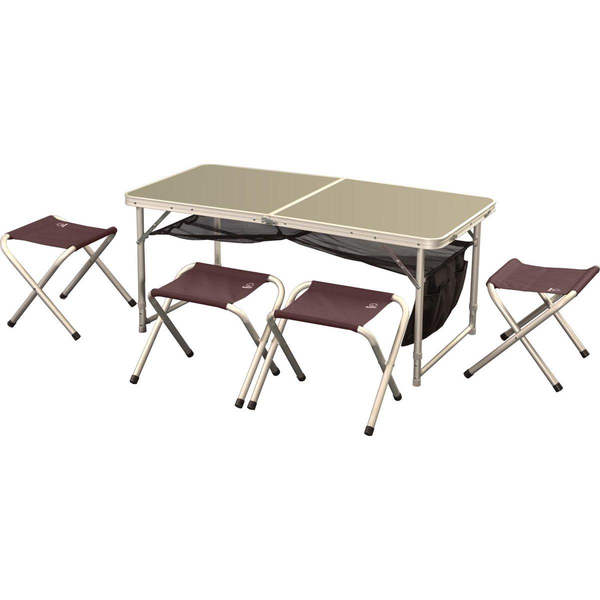 Набор складной мебели Greenell FTFS-1, 5 предметов71241-232-00Легкий складной набор Greenell FTFS-1 предназначен для создания комфортных условий в туристических походах, охоте, рыбалке и кемпинге. Включает в себя стол и 4 табурета. Табуреты убираются внутрь стола для удобной транспортировки. В сложенном виде набор занимает мало места. Каркас предметов выполнен из прочного алюминия. Столешница - фибролит. Табуреты выполнены из полиэстера. В комплекте сумка-чехол. Размер стола: 120 см х 60 см х 70 см.