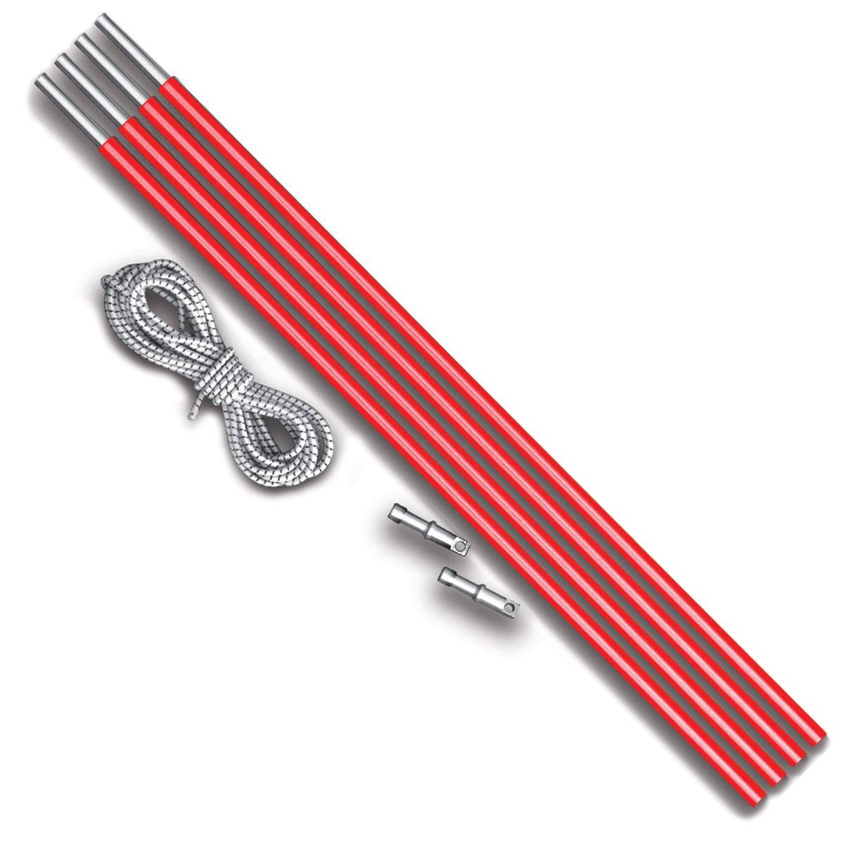 Комплект дуг алюминий Nova Tour v2, цвет: красный металлик, диаметр 8,5 мм95643-013-00Ремонтный набор Nova Tour v2 предназначен для дуговых палаток. Подойдет для моделей: Эксплорер, Смарт, Терра и Спейс. В комплекте 4 секции по 50 см, 2 наконечника и 2 метра внутренней резинки. Яркие, не теряются в траве!
