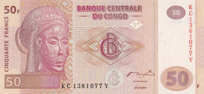Банкнота номиналом 50 франков. Демократическая Республика Конго. 2007 год1021564Размер 15 х 7 см.