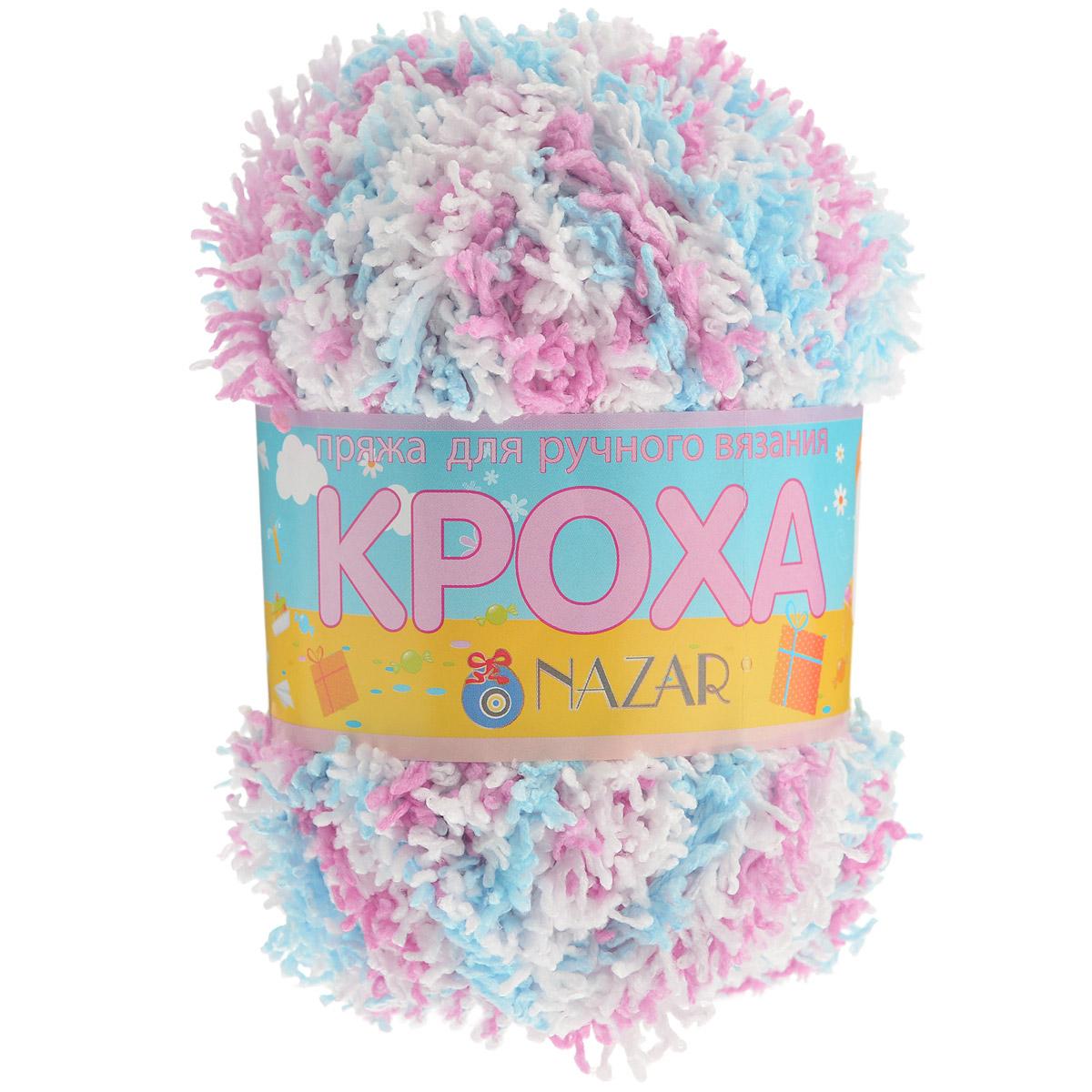 Пряжа для вязания детская Nazar Кроха, цвет: белый, розовый, голубой (1390), 75 м, 50 г, 10 шт349017_1390Nazar Кроха - это фантастически мягкая пряжа, изготовленная из 100% микрополиэстера. Такая пряжа идеально подойдет для изготовления игрушек или детской одежды. Изделия практичны в носке и уходе. Рекомендуется вязать спицами платочной или чулочной вязкой (кулинарная гладь). Комплектация: 10 мотков. Состав: 100% микрополиэстер.