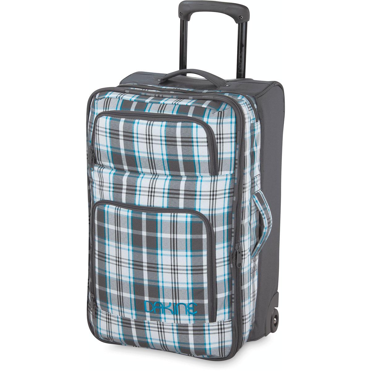 Сумка с колесами Dakine Womens Over/Under, цвет: серый, голубой, 64 л8350265Универсальная сумка Dakine Womens Over/Under отлично подойдет для любого путешествия, в котором нужно взять с собой чуть больше, чем пару футболок и смену белья. Особенности: Раздвижное основное отделение на застежке-молнии. 2 вместительных кармана на застежке-молнии на передней части. Уровневая конструкция независимых отделений для простоты доступа. Официально разрешенный размер ручной клади на большинстве авиалиний (в не раздвинутом состоянии) Наружные карманы-органайзеры. Выдвижная ручка высотой 55 см. Сменные уретановые колеса. Кармашек для документов сзади.