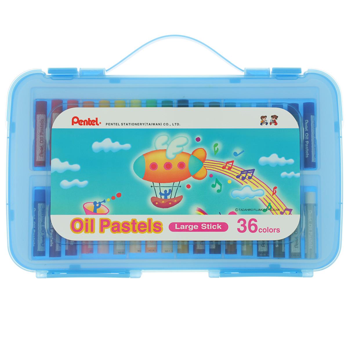 Пастель масляная Pentel Oil Pastels, в цветном боксе, 36 цветовGHTP36SПастель масляная Pentel Oil Pastels изготовлена из натуральных компонентов и не содержит вредных примесей. Соответствует европейскому стандарту качества EN71, утвержденному для детских товаров. Пастелью можно рисовать в любой технике (в сочетании с цветными карандашами, красками). При работе пастелью лучше использовать шероховатые поверхности - специальные бумаги, картон, холст. Пастель отличают яркие долговечные цвета, стойкие к воздействию света. Легко наносится на поверхность, образуя как яркие насыщенные цвета, так и легкие полутона и тени. Для удобства использования краски имеют форму мелков с увеличенным диаметром. Набор упакован в пластиковый бокс.