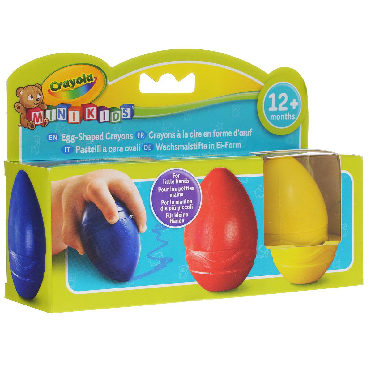 Восковые мелки Crayola, в форме яйца, 3 шт81-1345Необычные восковые мелки Crayola придутся по вкусу всем малышам. Интригующий внешний вид - каждый из мелков выполнен в форме яйца - привлекает внимает ребенка и стимулирует интерес к освоению художественной техники рисования восковыми мелками. Благодаря подобной форме мелки удобно ложатся в детскую руку, их легко удерживать и направлять. Восковые мелки выполнены из безопасных для детского здоровья, нетоксичных материалов. Они выпущены американским брендом Crayola, известным своими наборами для творчества во всем мире. Рисовать такими мелками можно, начиная с 1 года. В наборе три цветных мелка-яйца синего, красного и желтого цветов. Создайте свою картину вместе с Crayola!