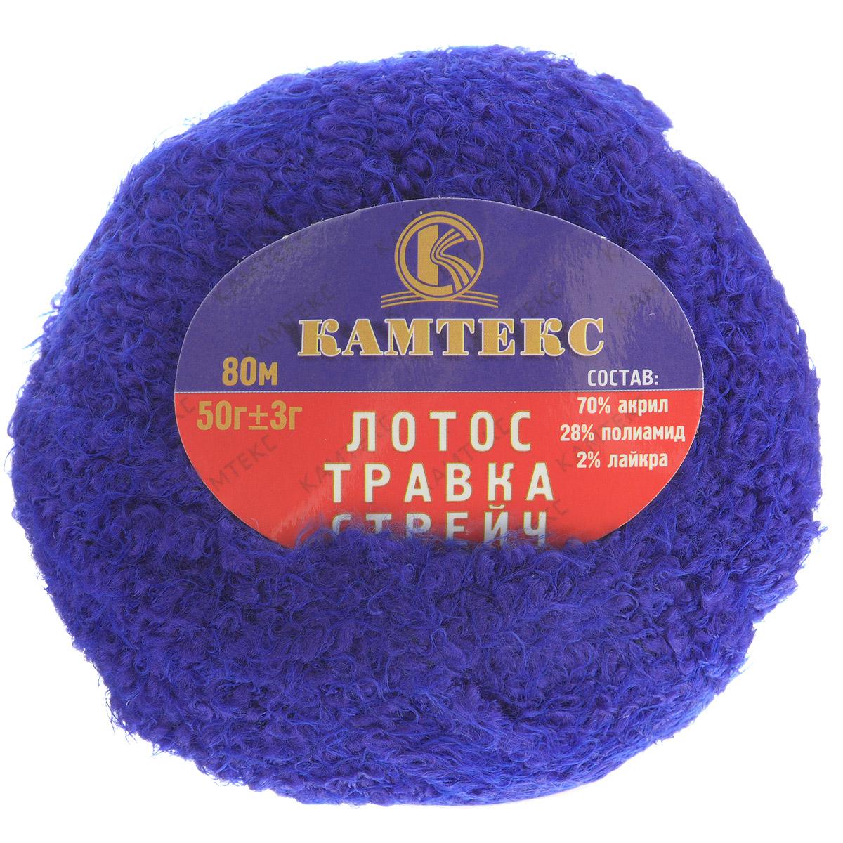 Пряжа для вязания Камтекс Лотос травка стрейч, цвет: василек (019), 80 м, 50 г, 10 шт136081_019Пряжа для вязания Камтекс Лотос травка стрейч имеет интересный и необычный состав: 70% акрил, 28% полиамид, 2% лайкра. Акрил отвечает за мягкость, полиамид за прочность и формоустойчивость, а лайкра делает полотно необыкновенно эластичным. Эта волшебная плюшевая ниточка удивляет своей мягкостью, вяжется очень просто и быстро, ворсинки не путаются. Из этой пряжи получатся замечательные мягкие игрушки, которые будут, не только приятны, но и абсолютно безопасны для маленьких детей. А яркие и сочные оттенки подарят ребенку радость и хорошее настроение.