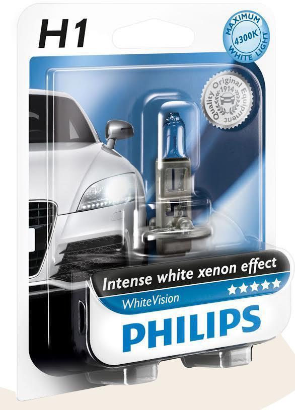 Галогенная автомобильная лампа Philips White Vision H1 12V-55W (P14,5s) абсолютно белый свет (1шт.) 12258WHVB112258WHVB1 (бл.)Уже в течение 100 лет компания Philips остается в авангарде автомобильного освещения, внедряя технологические инновации, которые впоследствии становятся стандартом для всей отрасли. Сегодня каждый второй автомобиль в Европе и каждый третий в мире оснащены световым оборудованием Philips. Соответствие нормам ECE Philips Automotive предлагает лучшие в классе продукты и услуги на рынке оригинальных комплектующих и послепродажного обслуживания автомобилей. Наши продукты производятся из высококачественных материалов и соответствуют самым высоким стандартам, чтобы обеспечить максимальную безопасность и комфортное вождение для автомобилистов. Вся продукция проходит тщательное тестирование, контроль и сертификацию (ISO 9001, ISO 14001 и QSO 9000) в соответствии с самыми высокими требованиями ECE. Многократное использование Где использовать лампу на 12 В? Решения Philips Automotive удовлетворят все нужды автомобилистов: дальний свет, ближний свет, передние...