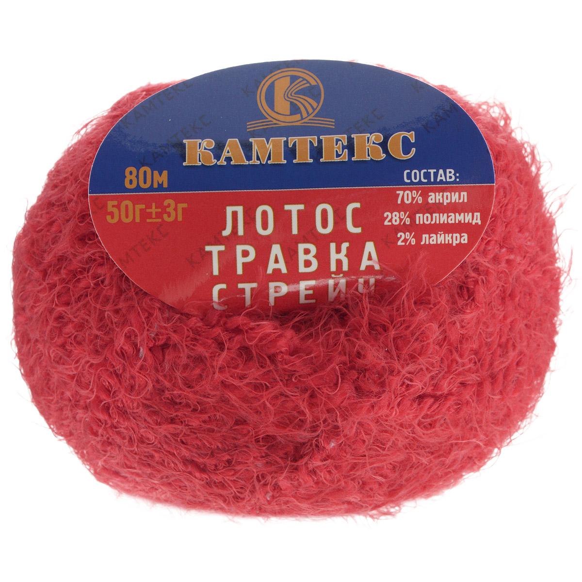 Пряжа для вязания Камтекс Лотос травка стрейч, цвет: красный (046), 80 м, 50 г, 10 шт136081_046Пряжа для вязания Камтекс Лотос травка стрейч имеет интересный и необычный состав: 70% акрил, 28% полиамид, 2% лайкра. Акрил отвечает за мягкость, полиамид за прочность и формоустойчивость, а лайкра делает полотно необыкновенно эластичным. Эта волшебная плюшевая ниточка удивляет своей мягкостью, вяжется очень просто и быстро, ворсинки не путаются. Из этой пряжи получатся замечательные мягкие игрушки, которые будут, не только приятны, но и абсолютно безопасны для маленьких детей. А яркие и сочные оттенки подарят ребенку радость и хорошее настроение.