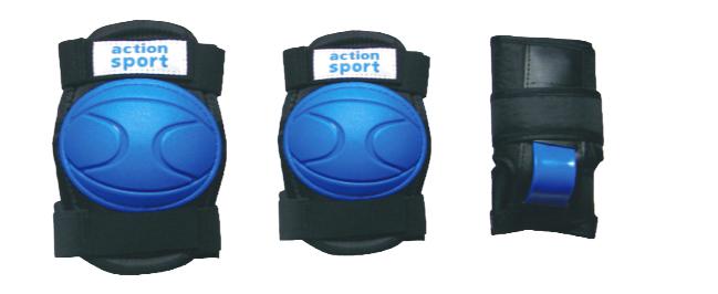 Комплект защиты Action, для катания на роликах, цвет: синий, черный. Размер L. PW-316PW-316BПосле пары падений любой, даже самый самонадеянный человек начинает осознавать необходимость защитной экипировки. Так надо ли подвергать себя или своего ребенка опасности? Лучше уж приобрести защиту и не забывать о ней даже тогда, когда вы научитесь хорошо кататься. В комплект защитной экипировки Action входят: наколенники и налокотники - закрывают и предохраняют от ударов локти и колени - места вечных ссадин у детей. Специальная защита для запястий защищает кисть от ударов и предохраняет от вывихов. Вывихи, ушибы и переломы запястий - вообще самые частые травмы при катании на роликах, вне зависимости от стиля катания, опытности и других факторов. Защитная экипировка легко надевается и крепится при помощи ремней на липучках. Размер наколенников: 20 см х 15 см х 4 см. Размер налокотников: 19 см х 14 см х 3,5 см. Размер защиты запястий: 15 см х 9 см.