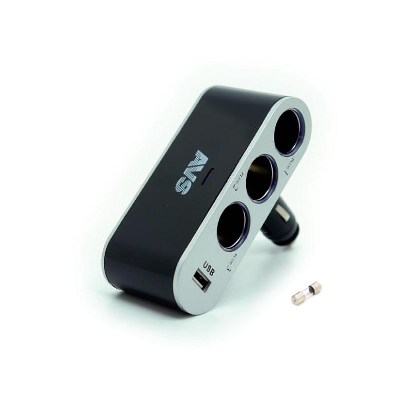 Разветвитель прикуривателя AVS CS312U, со светодиодной подсветкой, 3 выхода + USB, 12/24В43265Разветвитель прикуривателя AVS CS312U, изготовленный из высокопрочного тугоплавкого пластика, позволяет подключать одновременно 3 прибора к автомобильной сети. Также оснащен USB-выходом. Предназначен для автомобилей с напряжением бортовой сети 12/24В. Разветвитель оснащен светодиодным индикатором сети. Имеет защиту от короткого замыкания - плавкий предохранитель в корпусе штекера. Надежно фиксируется в гнезде прикуривателя и подходит для всех автомобилей.