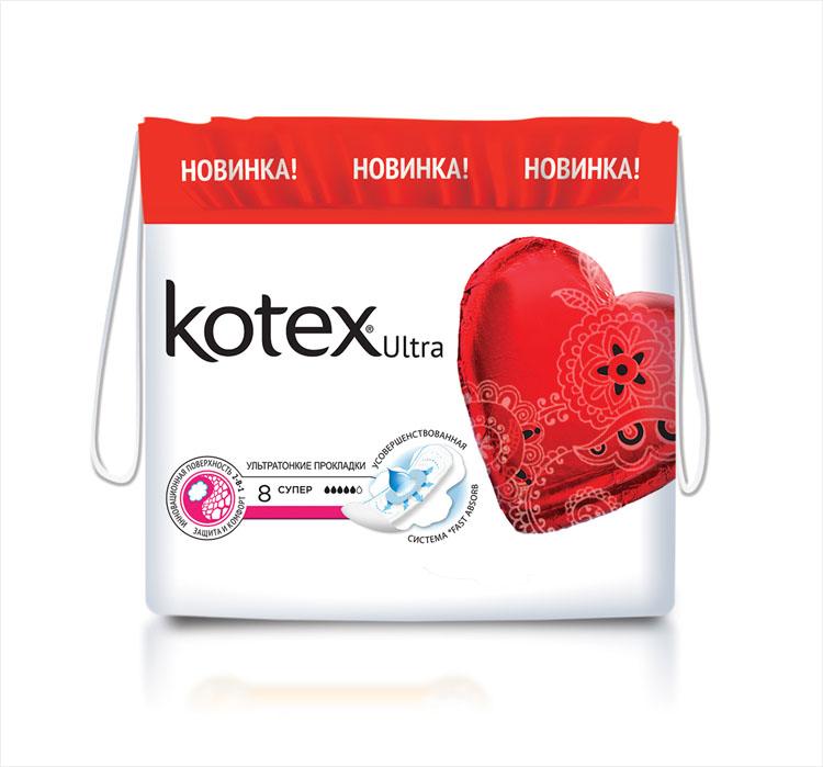 Kotex Гигиенические прокладки Ultra. Super с крылышками, с сеточкой, 8 шт2606114010Ультратонкие гигиенические прокладки Kotex Ultra. Супер с крылышками, с поверхностью сеточка предназначены для обильных выделений. 2-в-1: защита и комфорт - впитываемость cеточки и комфорт мягкой поверхности для комфорта кожи; Мягкие крылышки, которые лучше крепятся к белью и способствуют комфортной носке; Эстетичная форма прокладки, которая не сминается и не скручивается благодаря барьерчикам для еще больше комфорта; Улучшенная система быстрого впитывания Fast Absorb с новым впитывающим центром; Новая прокладка тоньше на 1,3 мм для большего комфорта; Современная и удобная упаковка – сумочка с затягивающимися веревочками.
