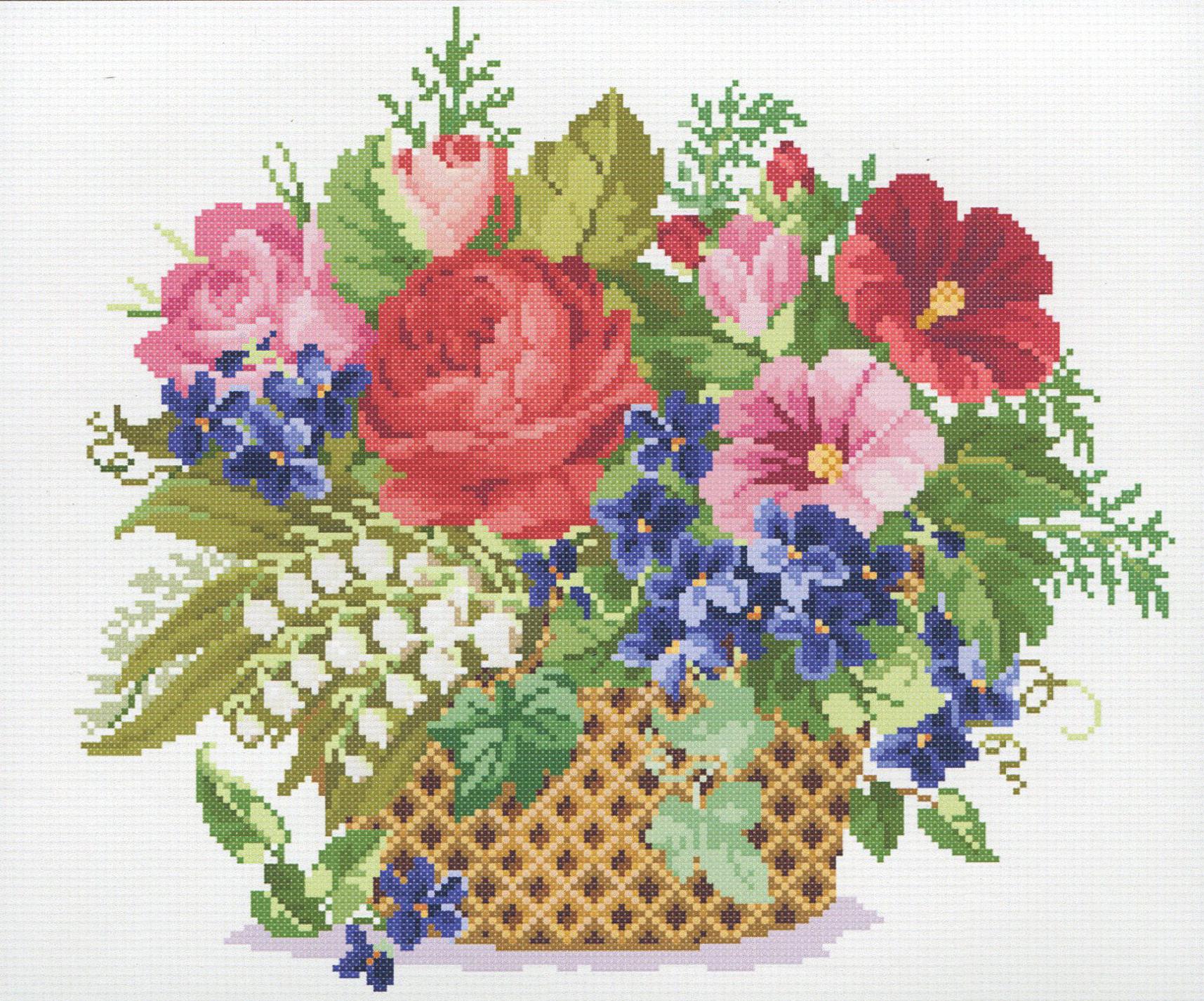 Цветы в корзине вышивка