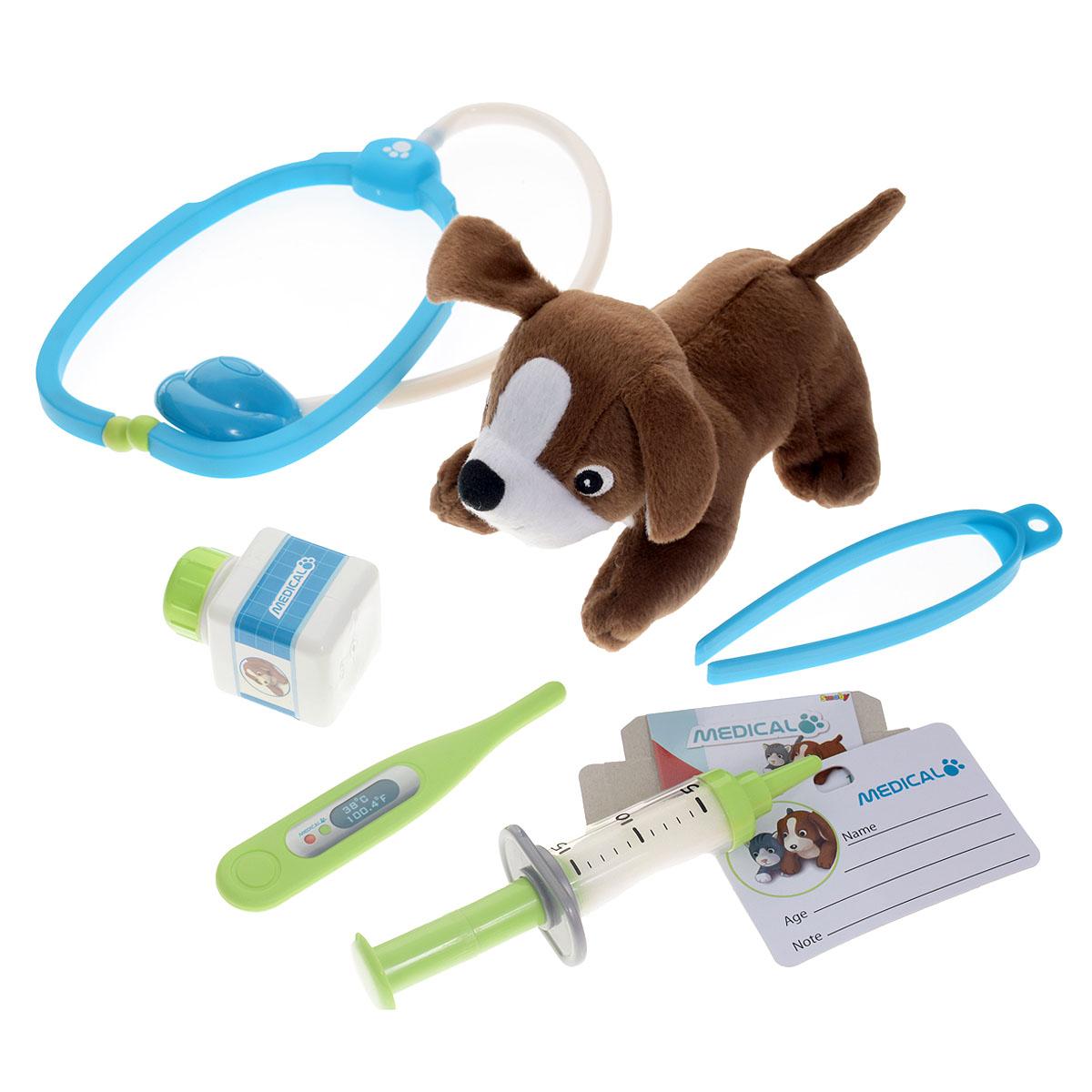 Smoby Набор доктора-ветеринара Medical, 8 предметов24657Игровой набор Smoby Medical включает в себя полный набор необходимых аксессуаров для маленького ветеринара, которые создадут увлекательную атмосферу игры. В комплект входят: мягкая игрушка в виде собачки, стетоскоп, шприц, пинцет, градусник, бейдж врача, баночка с неоткручивающейся крышечкой и коробочка для лекарств. Все элементы набора хранятся в пластиковом кейсе с удобной ручкой, который ваш ребенок всегда сможет взять с собой на прогулку или в поездку. С этим замечательным набором ребенок сможет вылечить собачку и других игрушек и почувствовать себя квалифицированным специалистом.