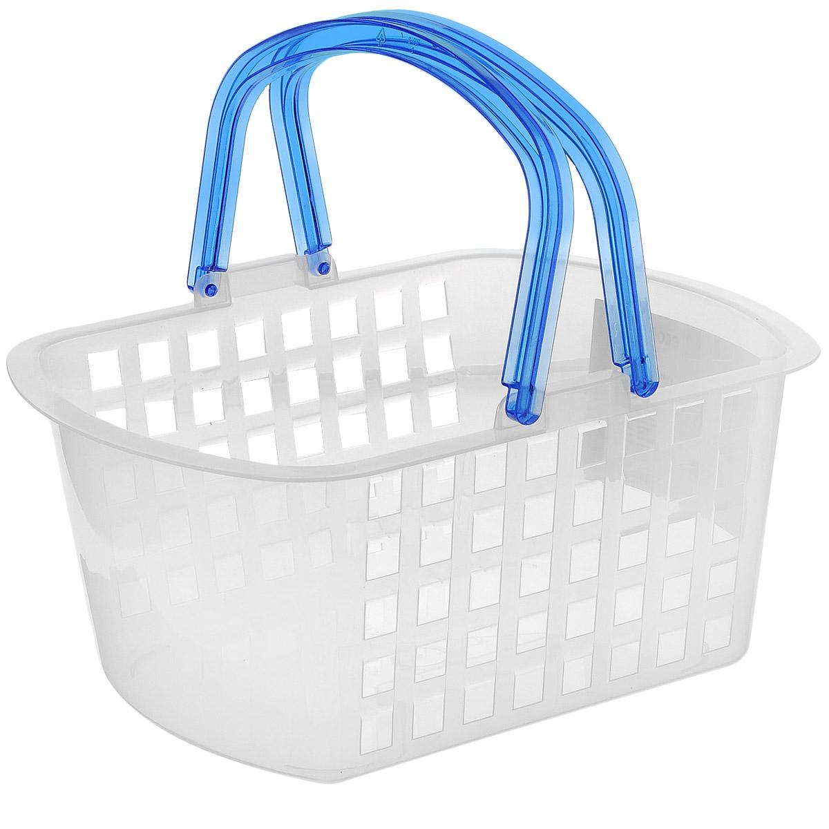 Корзина универсальнаяEconova, с ручками, цвет: синий, 31 см х 24 см х 15 см193415белый/синийУниверсальная корзинка Econova, изготовленная из пластика, прекрасно подойдет для хранения бытовой химии, мелкого белья, домашних мелочей, металлических инструментов и других предметов. Корпус корзины декорирован квадратными отверстиями. Благодаря двум ручкам ее легко переносить. Размер корзины: 31 см х 24 см х 15 см.