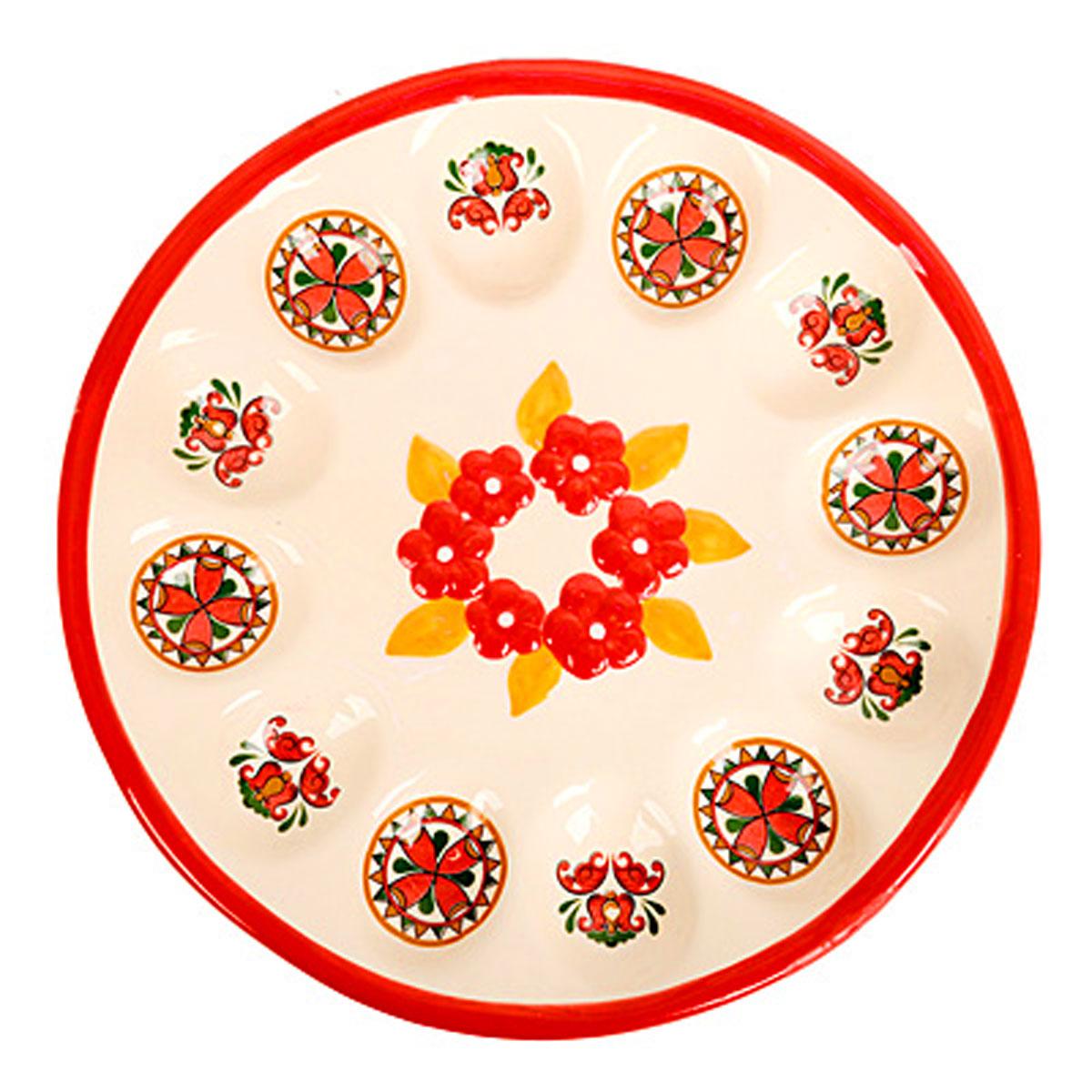 Подставка под яйца Home Queen Народные промыслы, цвет: белый, красный, 12 ячеек - Home Queen66718Подставка Home Queen Народные промыслы станет оригинальным украшением праздничного стола на Пасху. Изделие изготовлено из керамики и служит держателем для яиц. Подставка выполнена в виде круглой тарелки с 12 ячейками для яиц и декорирована цветочным рисунком и красивым узором. Подставка Home Queen Народные промыслы может стать красивым пасхальным подарком для друзей или близких. Размер подставки: 22,5 см х 2,5 см. Размер ячейки: 5 см х 4 см.
